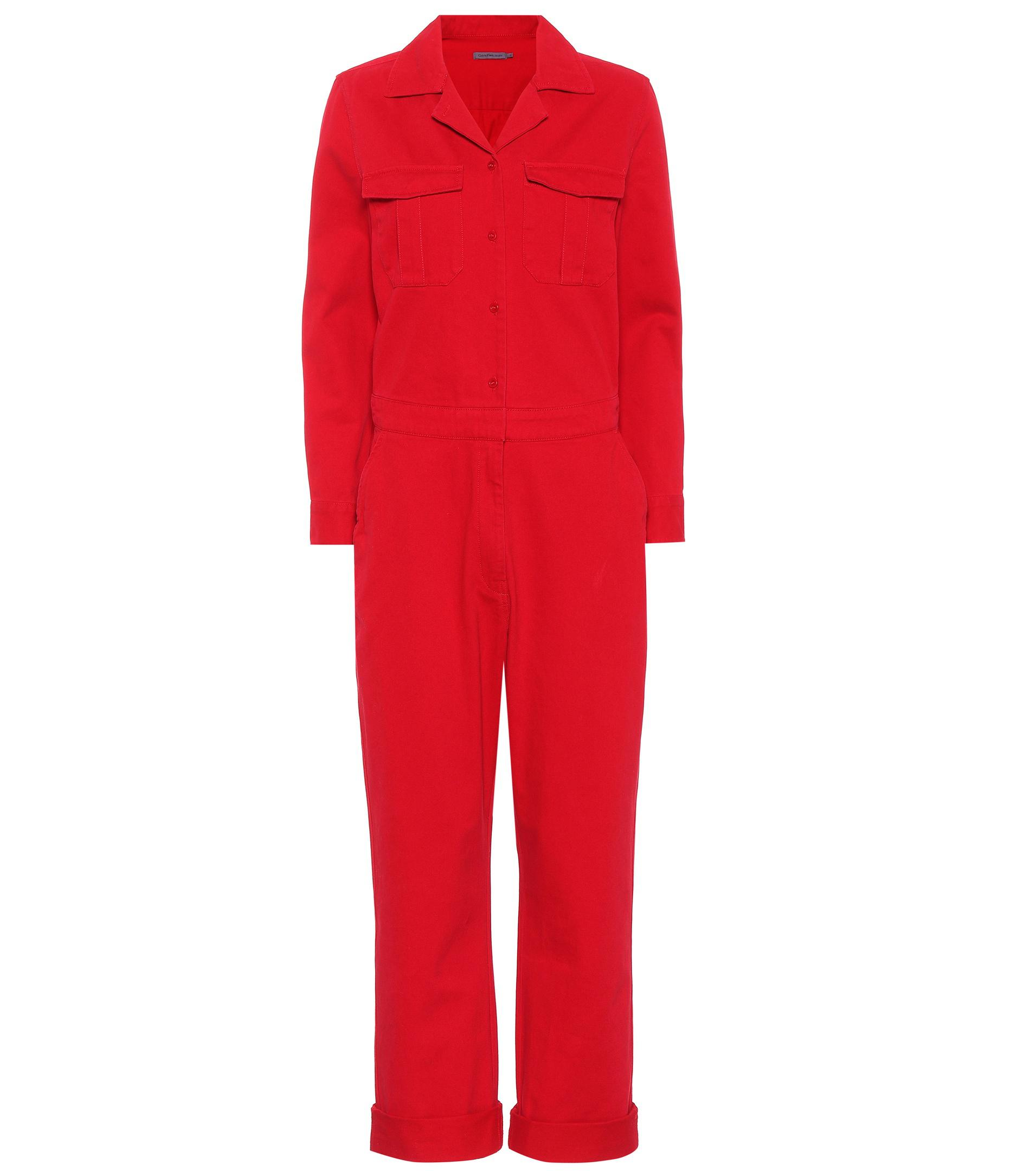 0df7e850e48 Lyst - Calvin Klein Collared Cotton Jumpsuit in Red