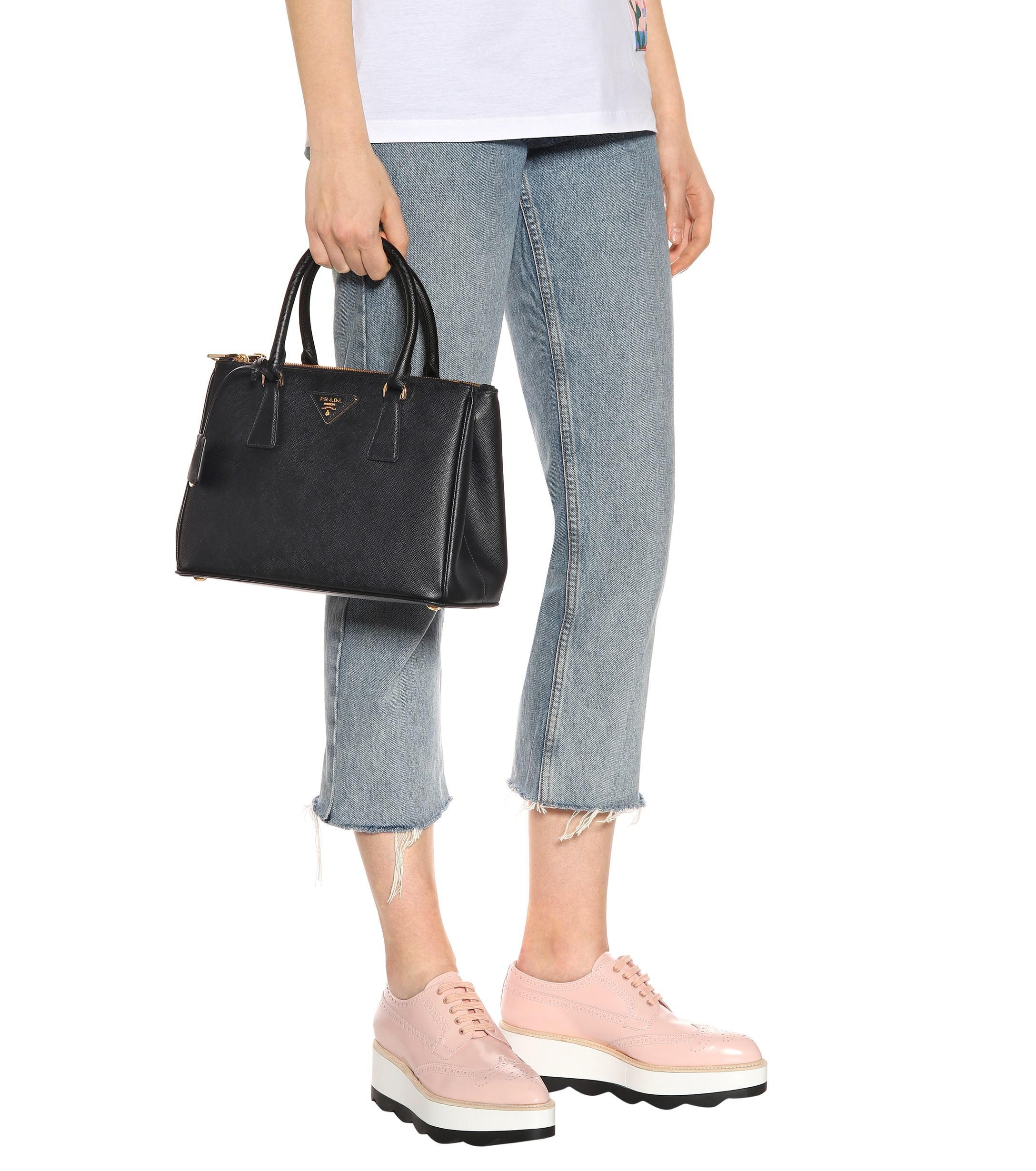 dd6adddf976 Prada Galleria Saffiano Small Leather Shoulder Bag in Black - Lyst