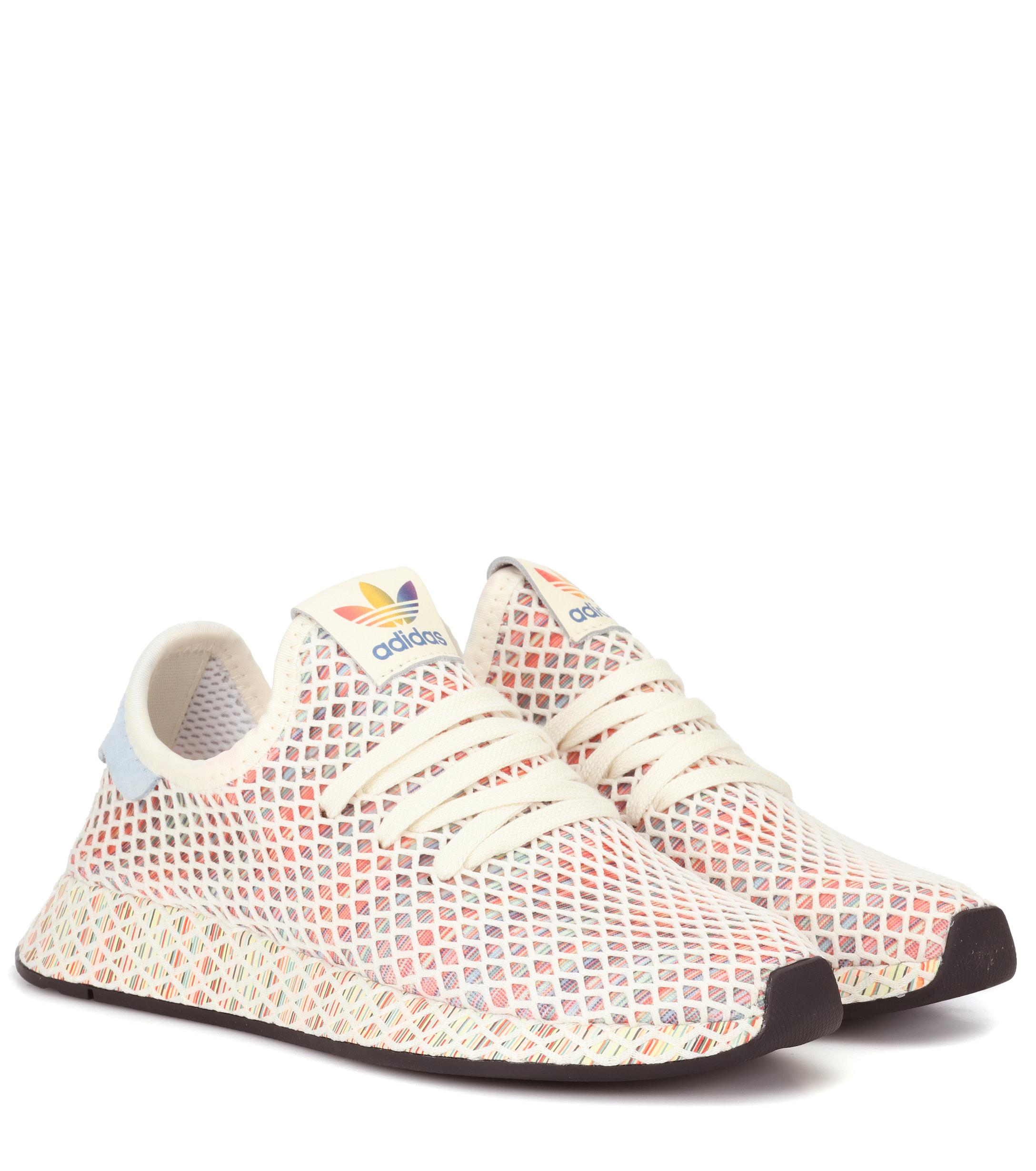 sale retailer cca89 69fab adidas Originals. Womens White Deerupt Pride Knitted Sneakers