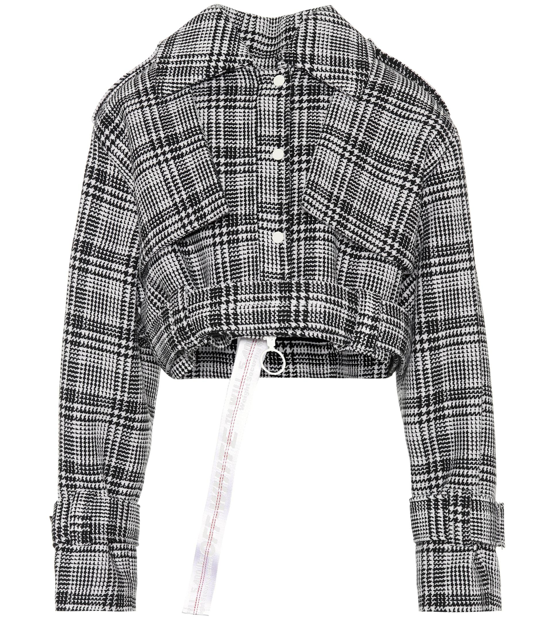 4aaab870e36b9 Lyst - Off-White c o Virgil Abloh Cropped Plaid Jacket in Black