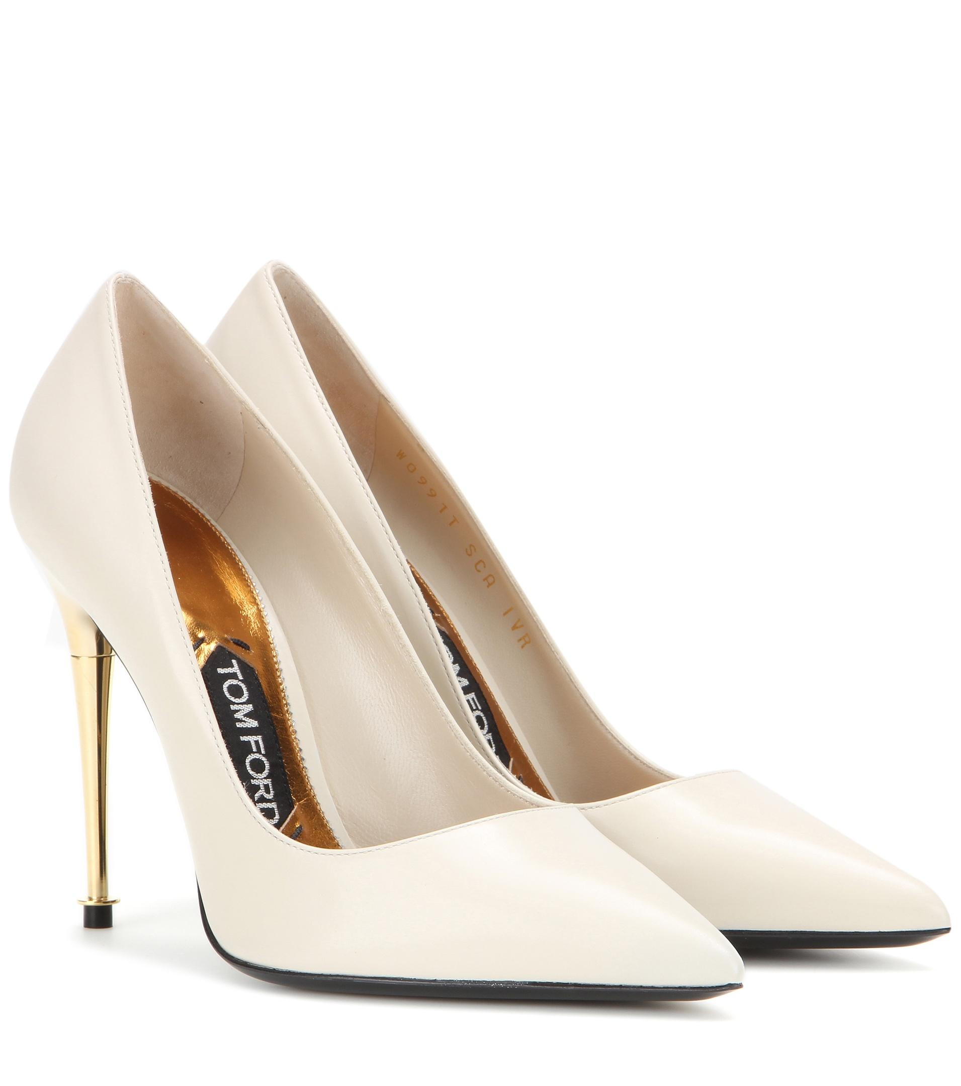 tom ford leather pumps in white lyst
