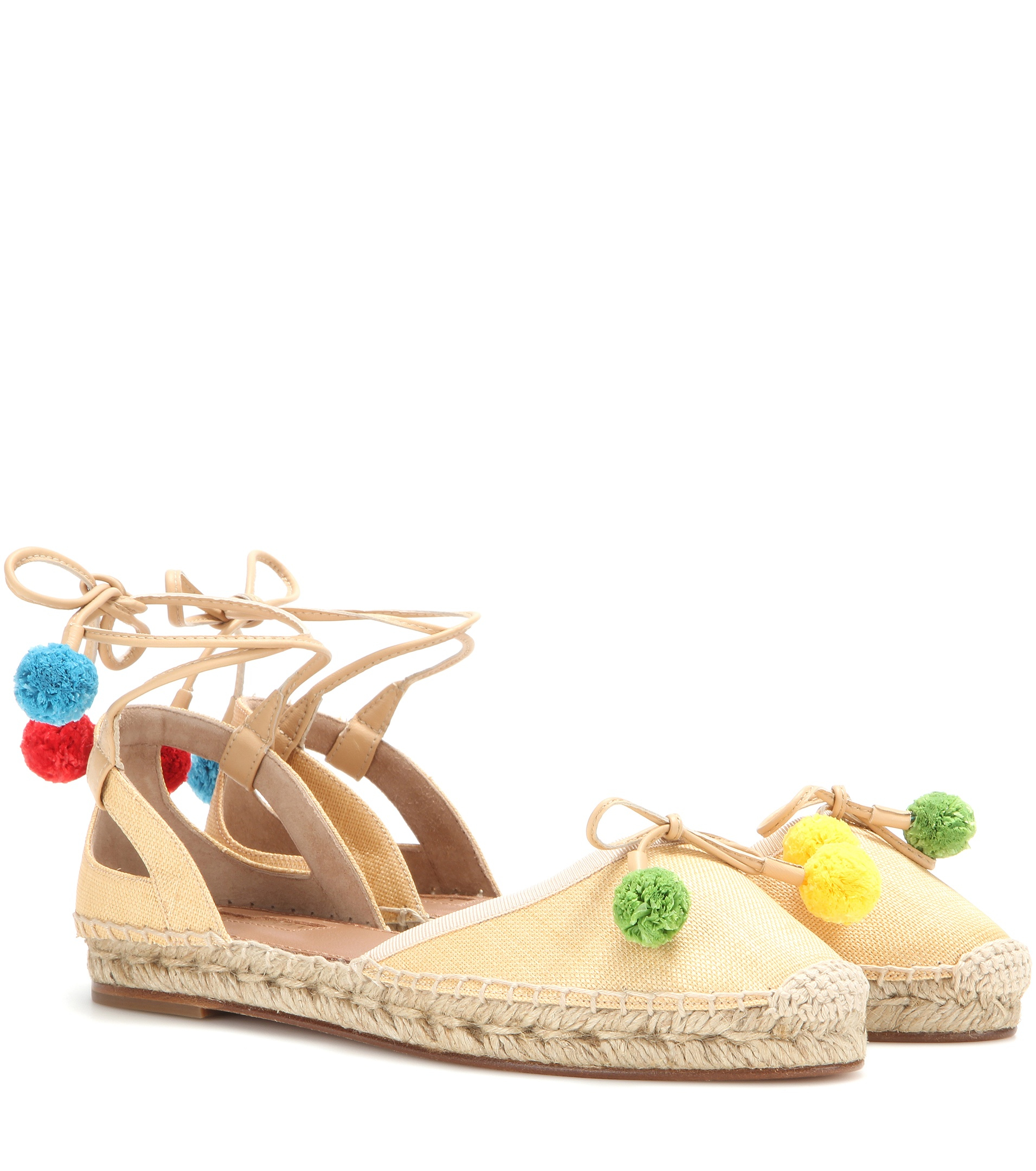 Inside Wedges Carys Beige 39 Aquazzura Palm Beach Espadrilles In Natural Lyst Gallery
