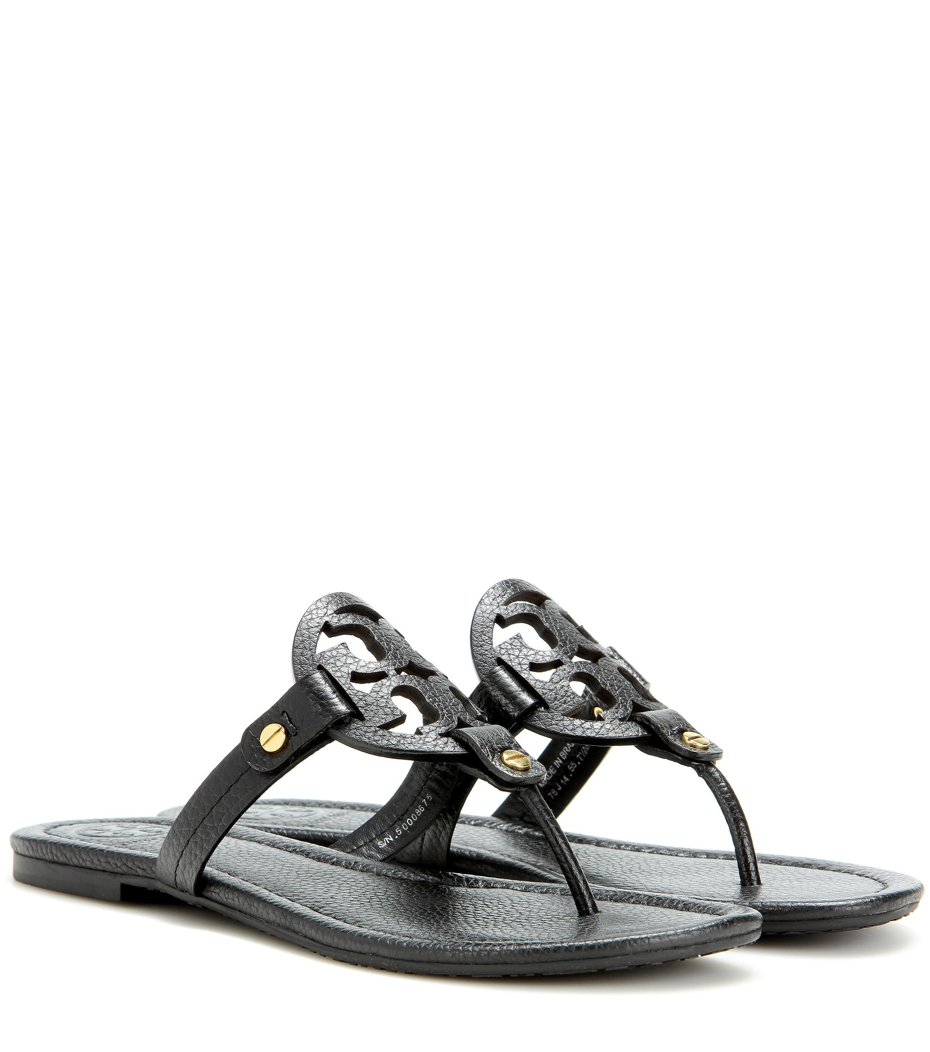 tory burch miller leather sandals in black lyst. Black Bedroom Furniture Sets. Home Design Ideas