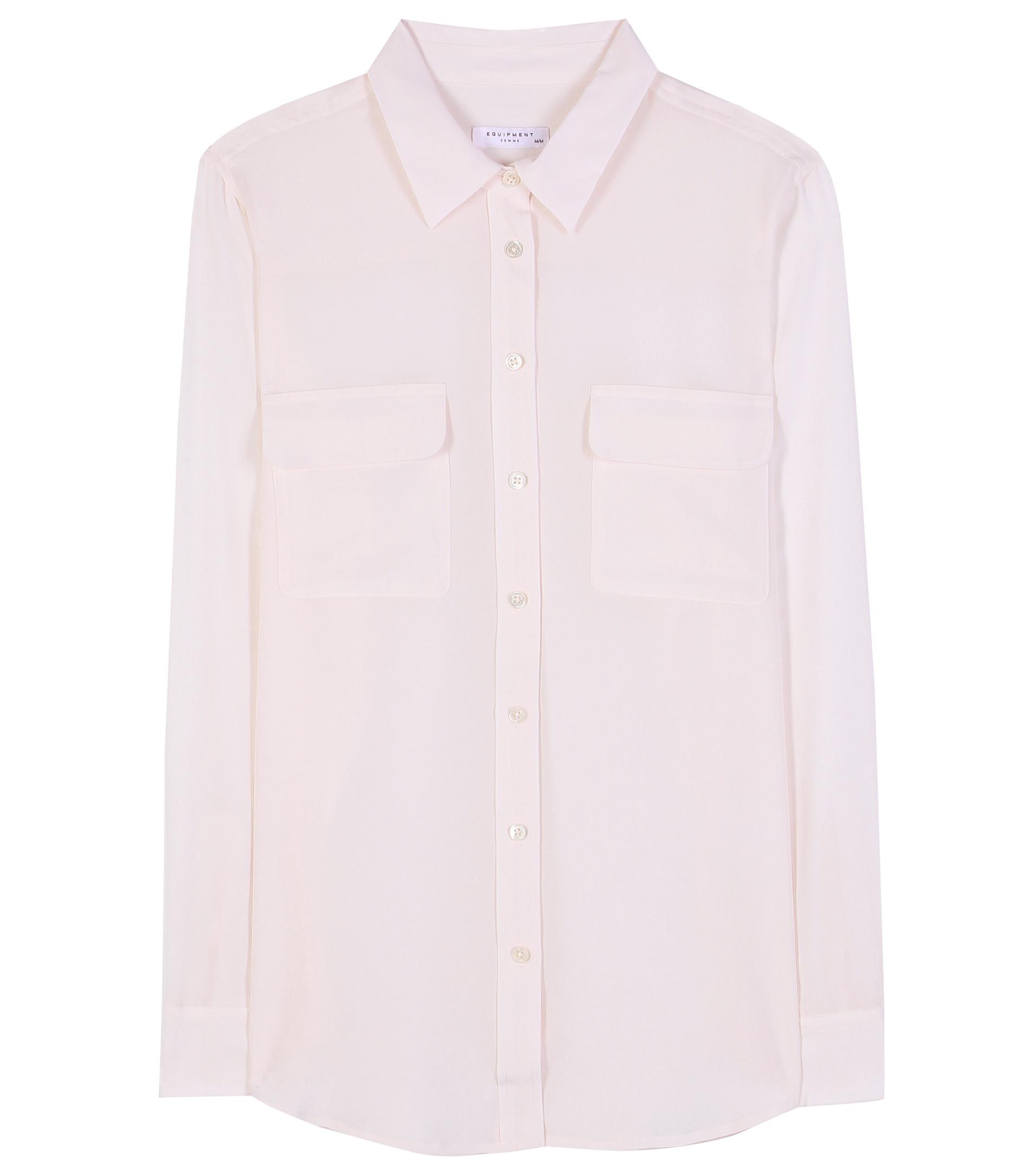 Equipment slim signature silk shirt in white lyst for Equipment signature silk shirt