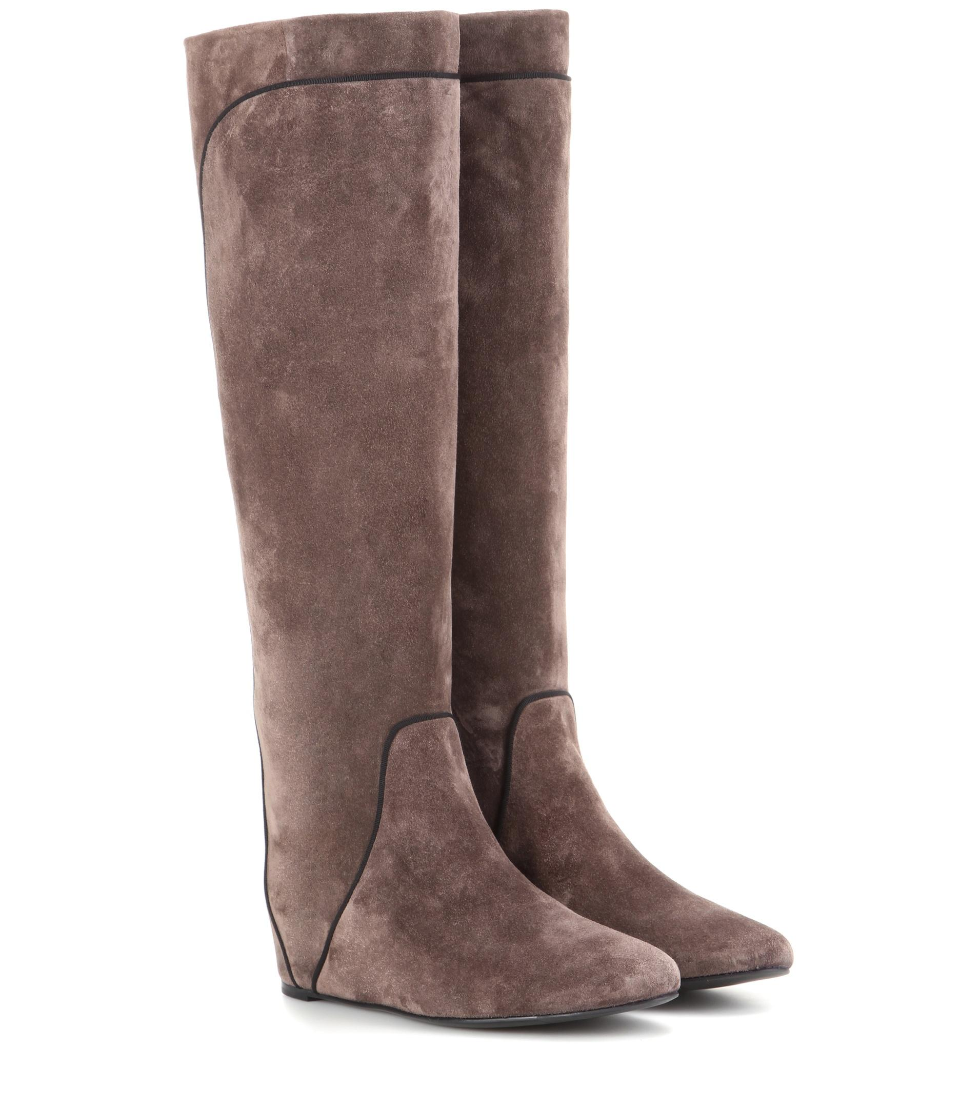 lanvin suede knee high boots in brown lyst