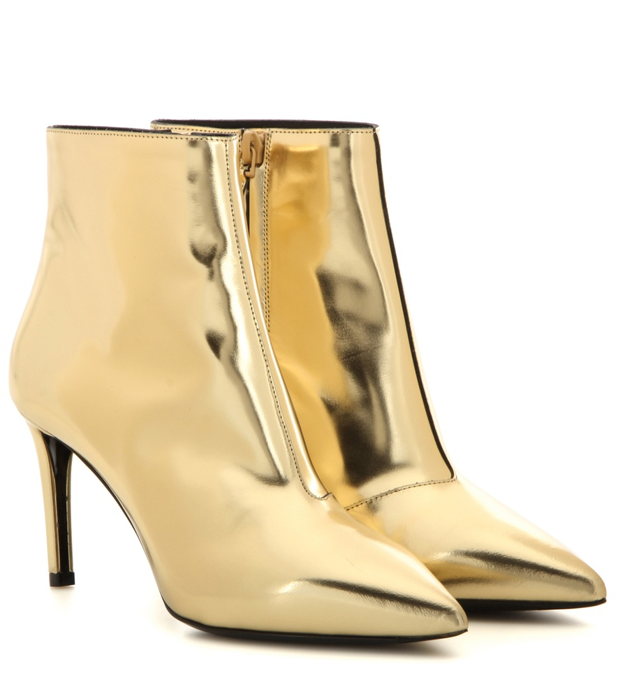 Metallic Leather Boots : Balenciaga metallic leather ankle boots in lyst
