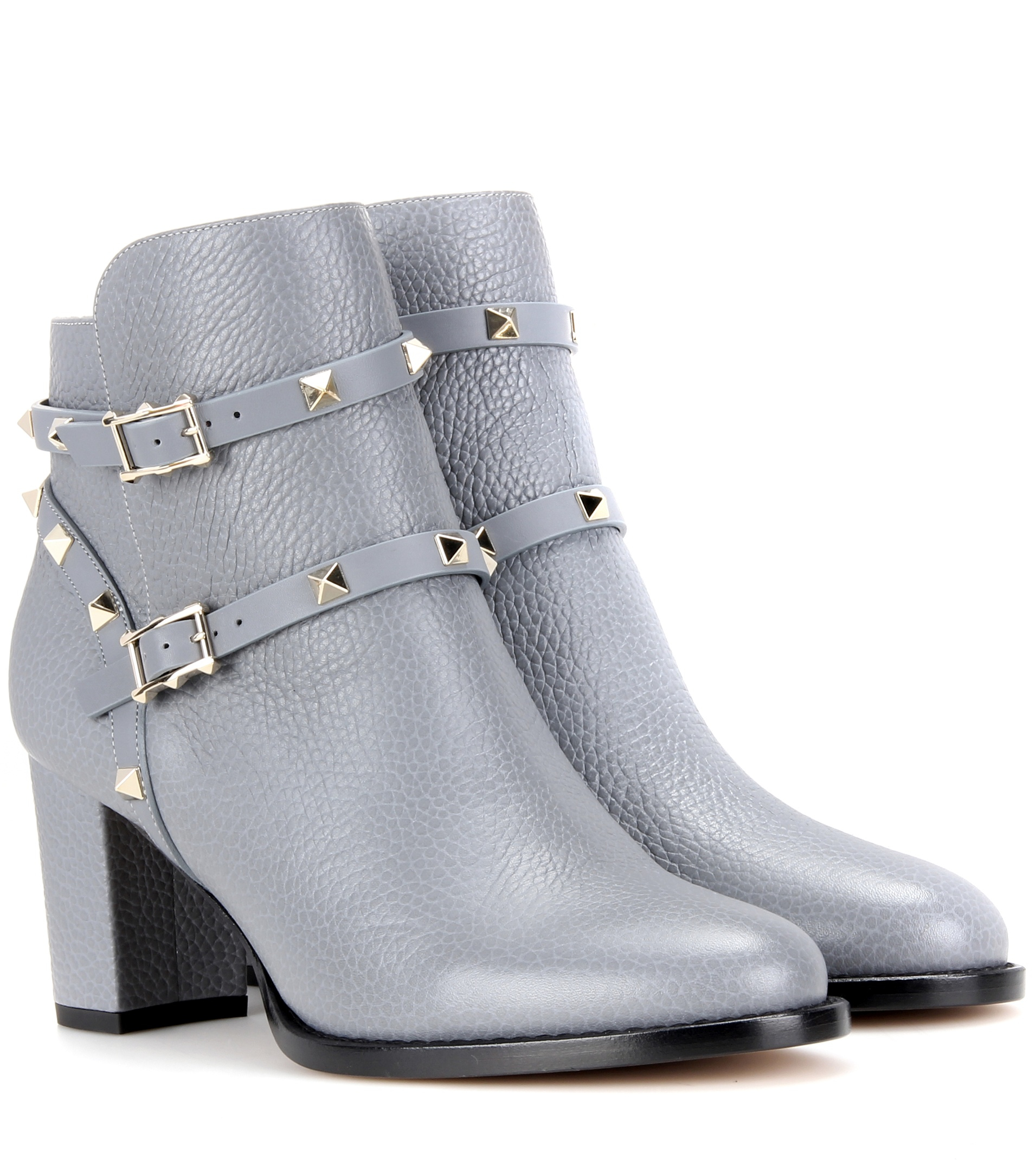 valentino rockstud leather ankle boots in gray lyst