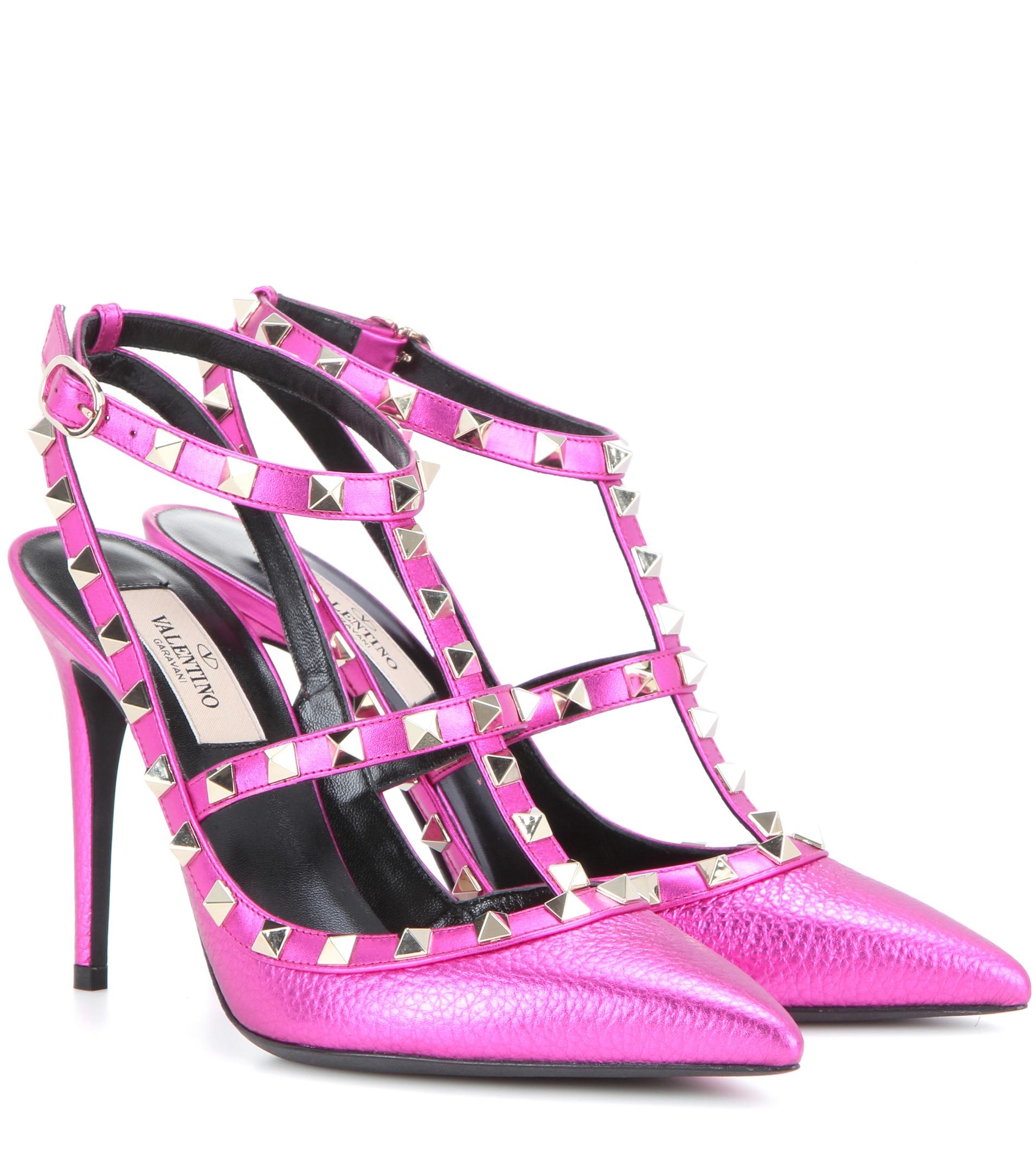 valentino garavani rockstud leather pumps in pink lyst
