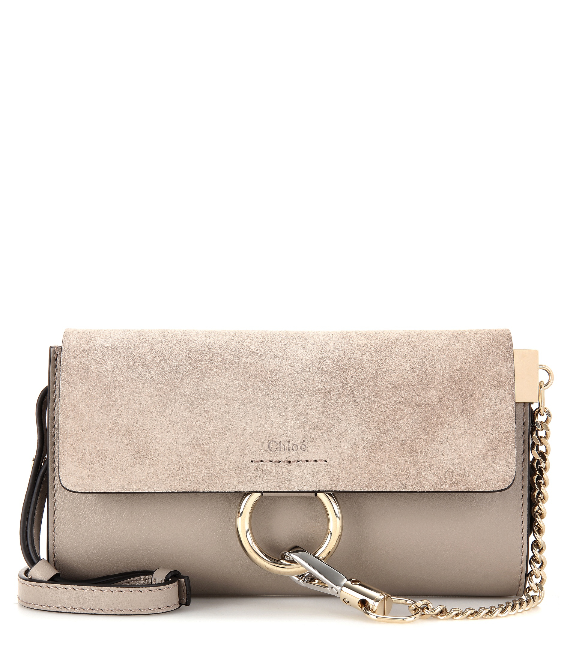 5aae99b64acc0 Chloé Mini Faye Suede   Leather Wallet On A Chain