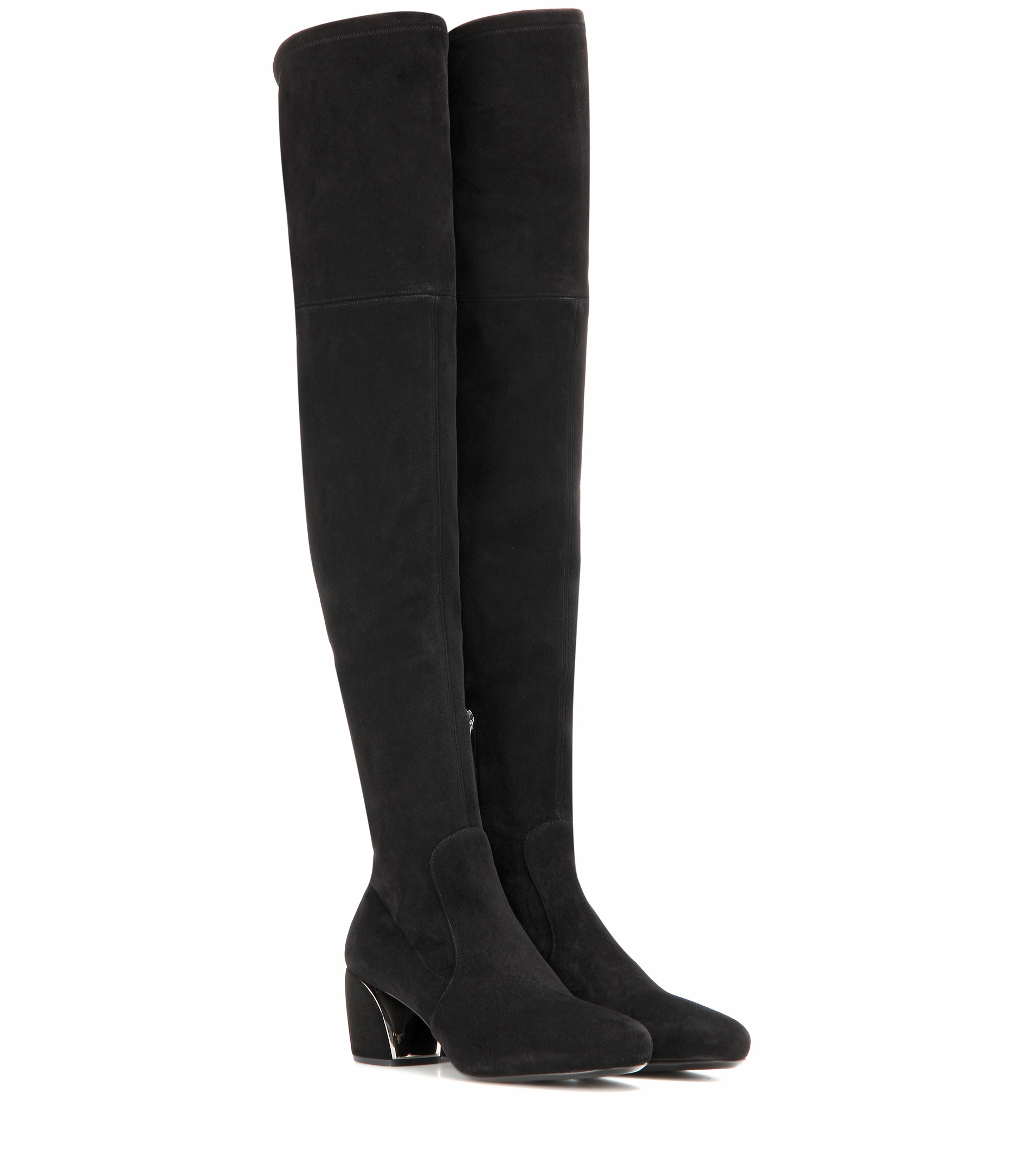 prada suede the knee boots in black lyst