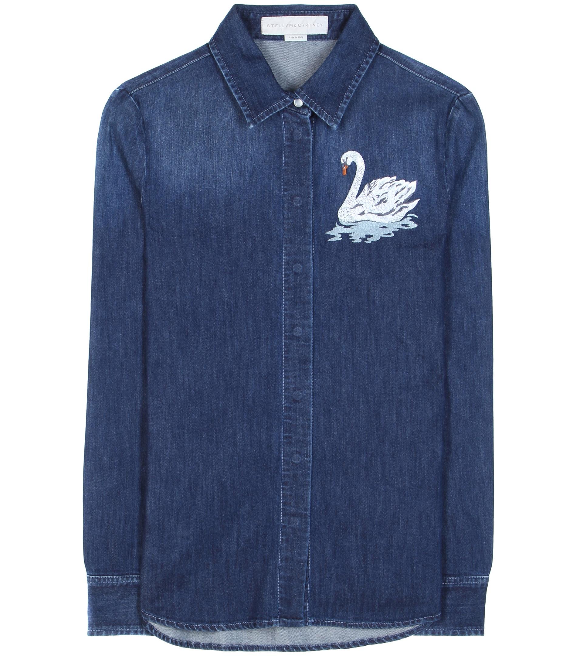 Stella mccartney embroidered denim shirt in blue lyst