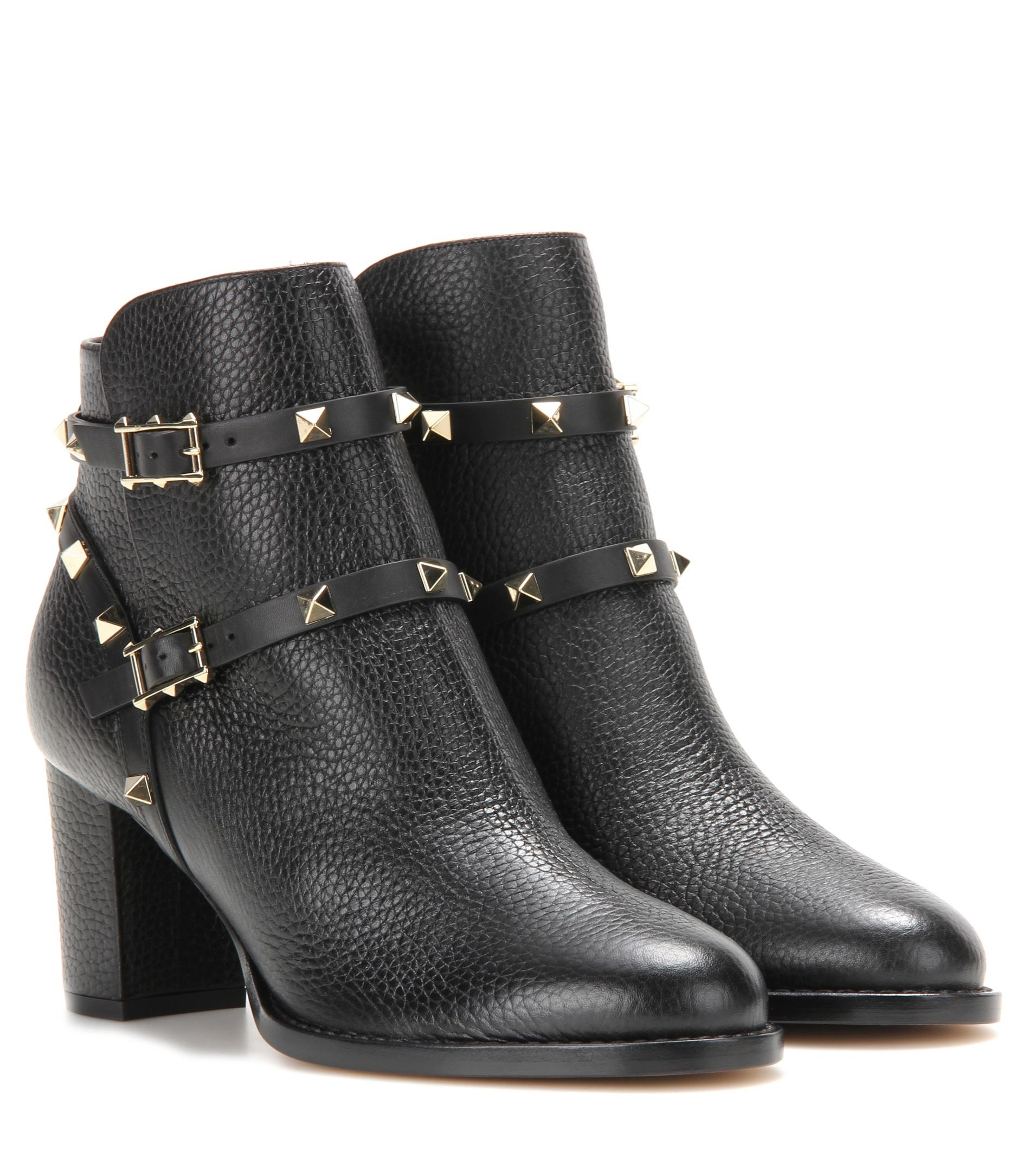valentino rockstud leather ankle boots in black lyst