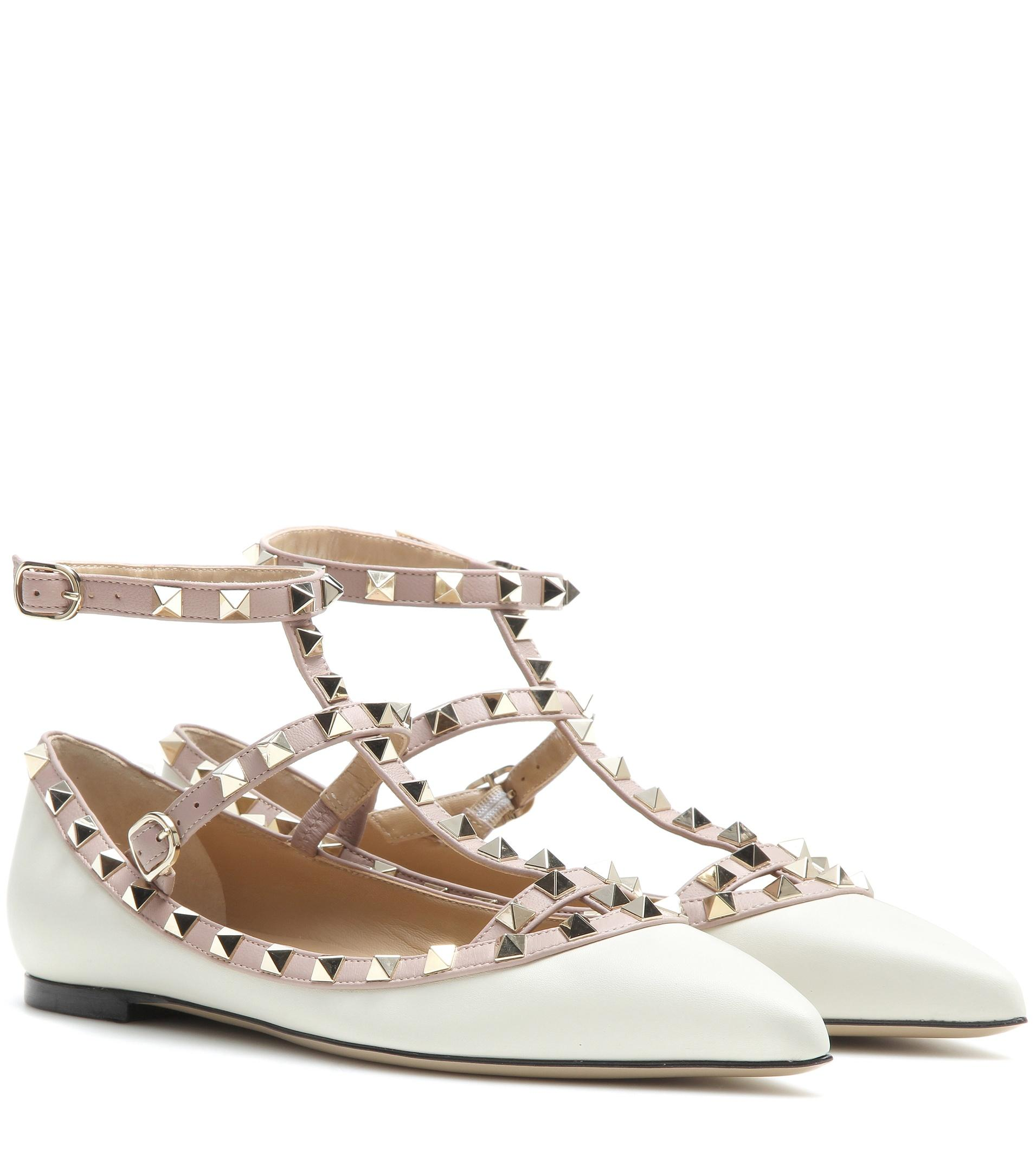 valentino garavani rockstud leather ballerinas in white lyst. Black Bedroom Furniture Sets. Home Design Ideas