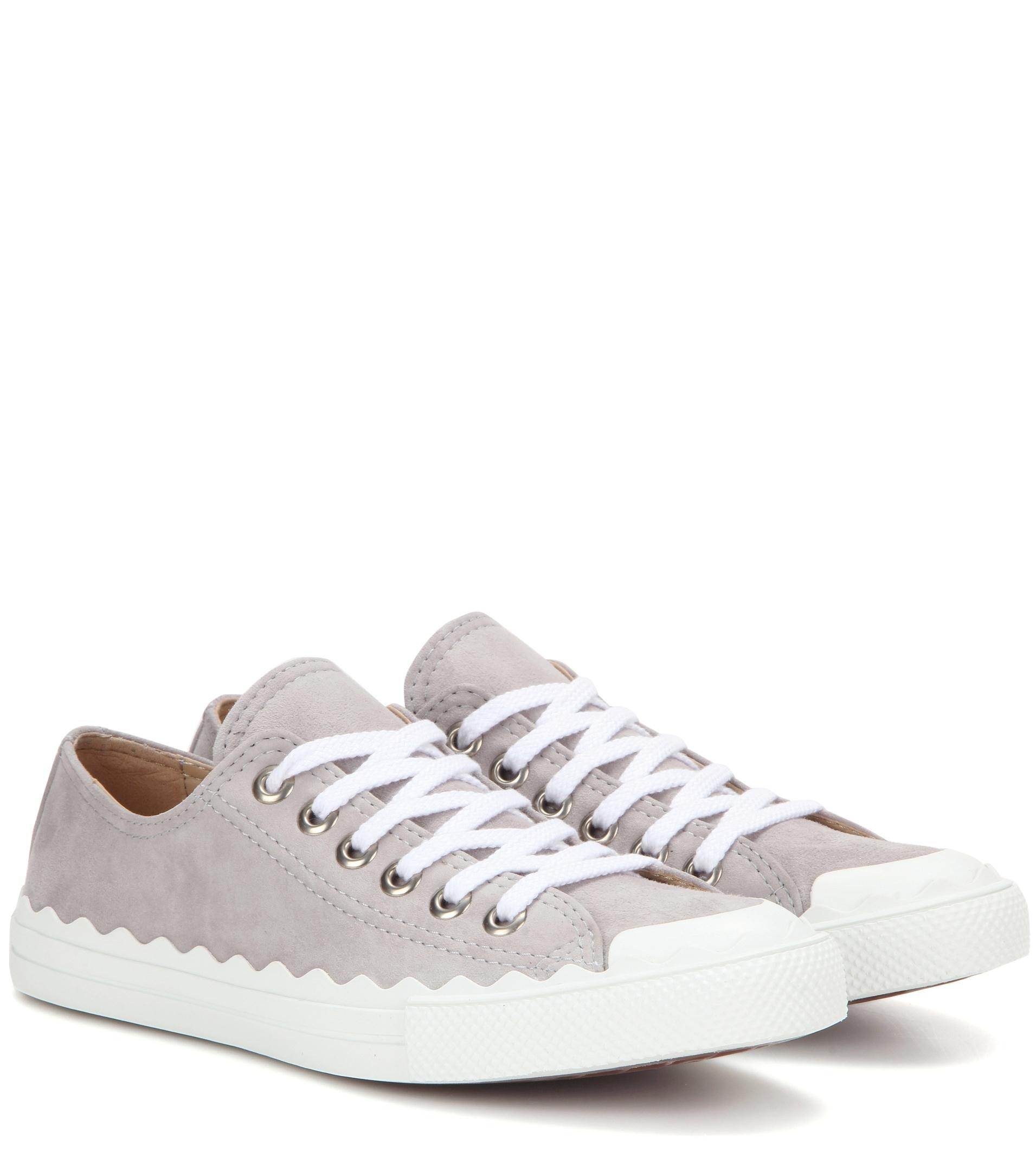 Chlo 233 Lauren Suede Sneakers In White Lyst