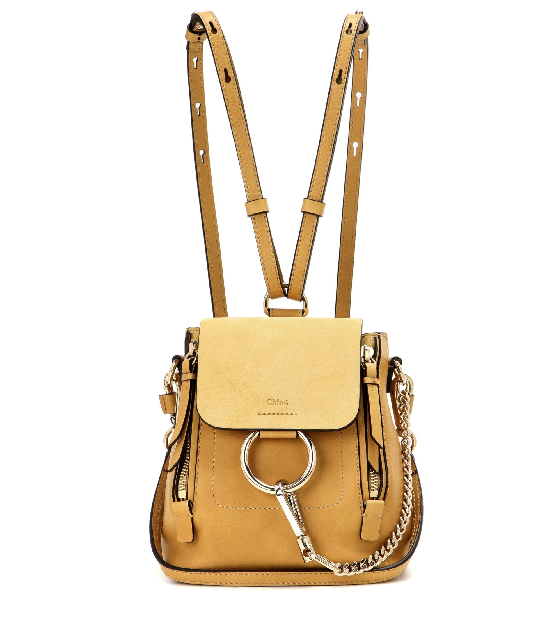 Chlo 233 Faye Mini Leather And Suede Backpack In Yellow Lyst