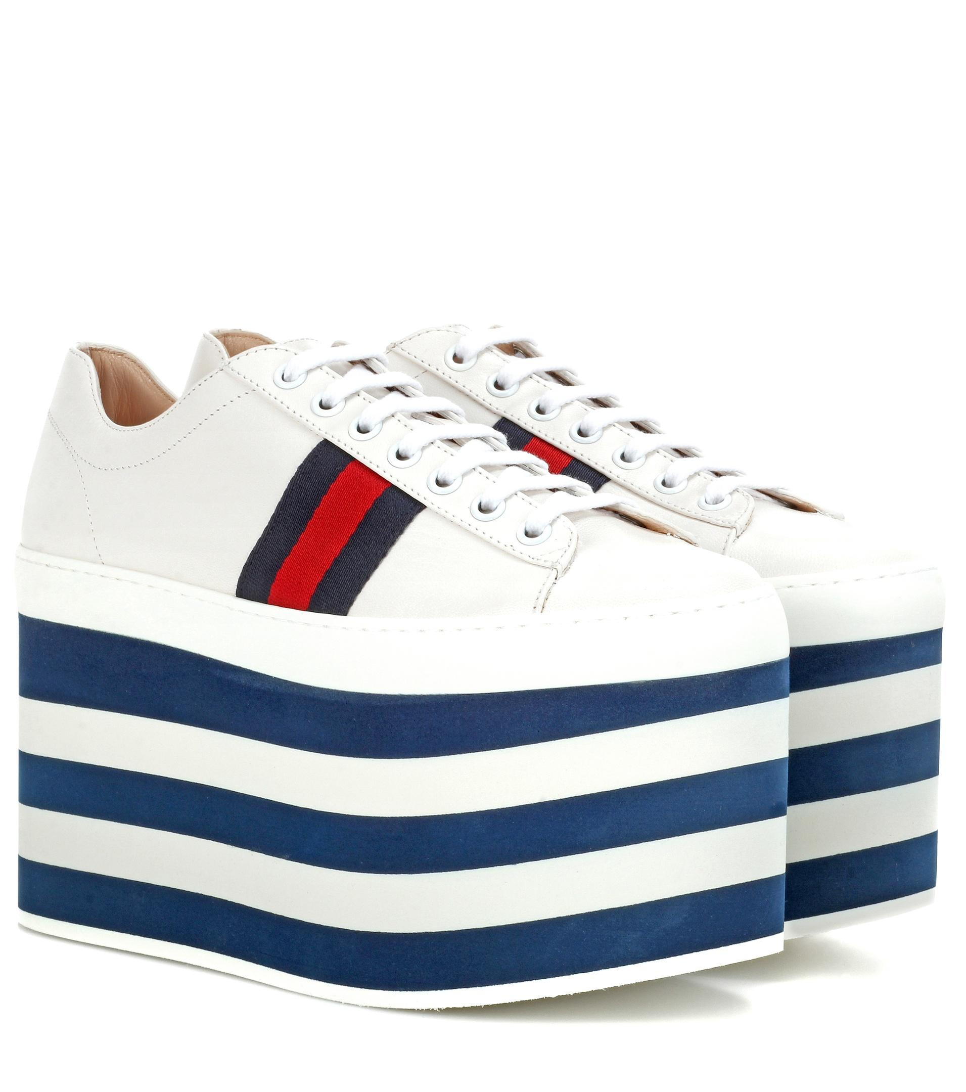 gucci leather platform sneakers in blue lyst. Black Bedroom Furniture Sets. Home Design Ideas