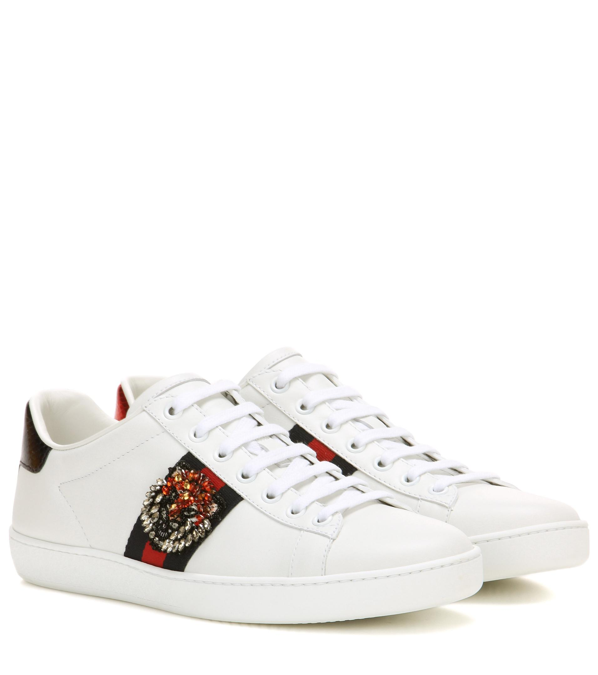 gucci ace embellished leather sneakers in white lyst. Black Bedroom Furniture Sets. Home Design Ideas