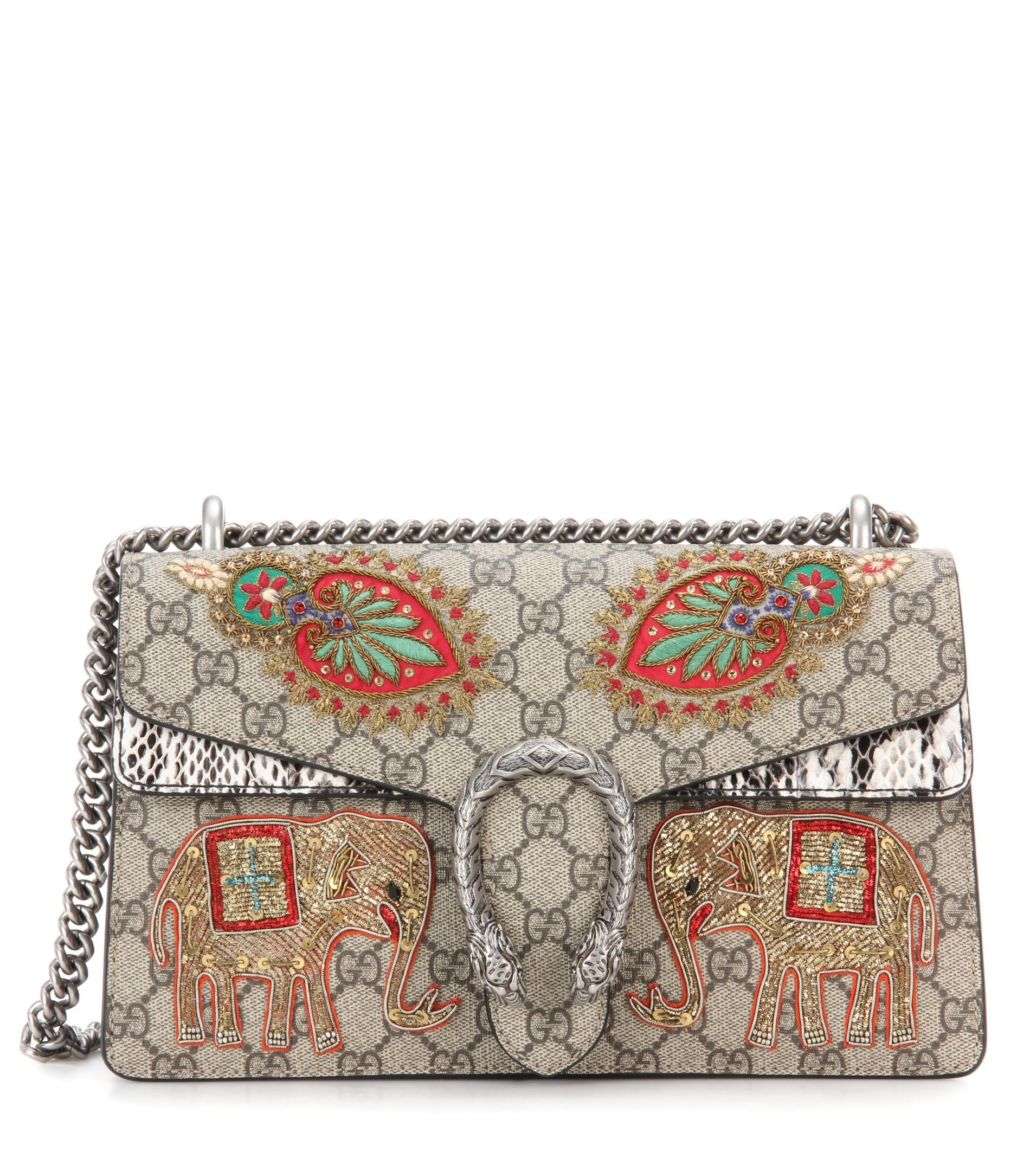 aea72cb5d239 Gucci Dionysus Gg Supreme Small Coated Canvas And Suede Shoulder Bag ...