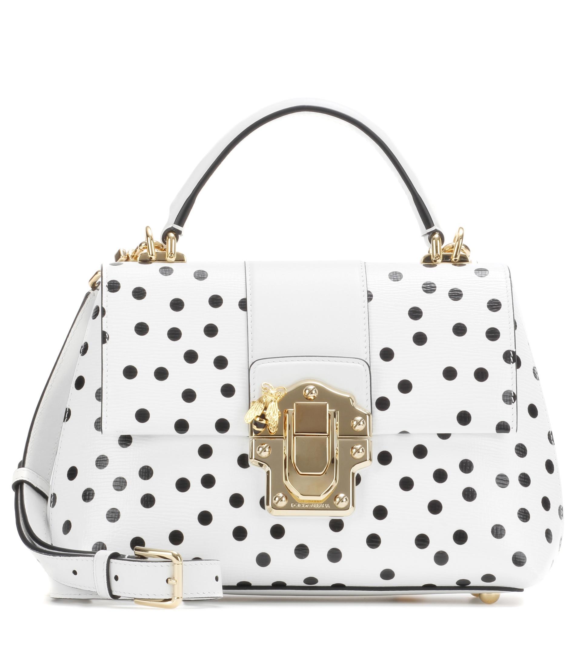 ed0f69570c5 Lyst - Dolce   Gabbana Lucia Polka-dot Textured-leather Shoulder Bag ...