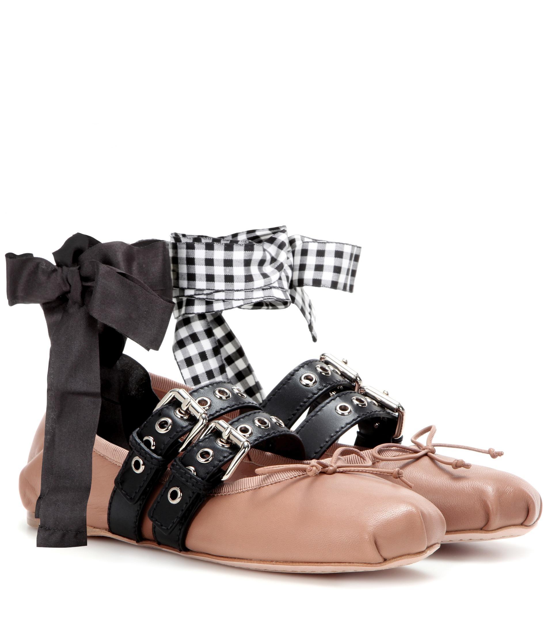 miu miu buckle embellished leather ballerinas in natural lyst. Black Bedroom Furniture Sets. Home Design Ideas