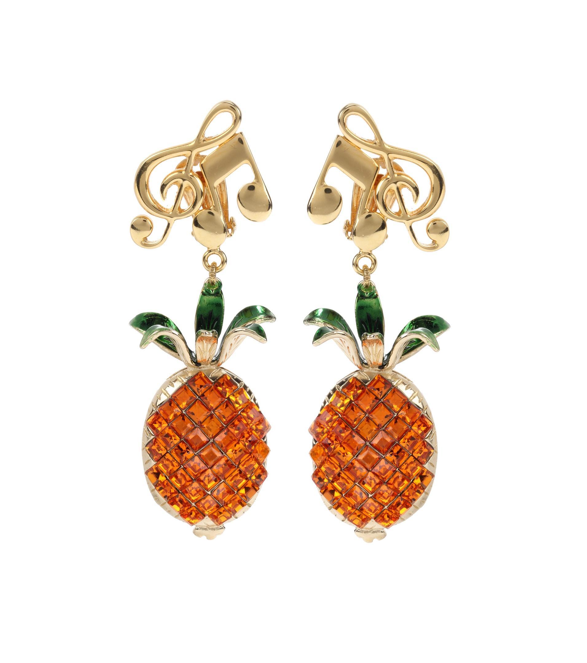 dolce gabbana crystal embellished clip on earrings lyst. Black Bedroom Furniture Sets. Home Design Ideas