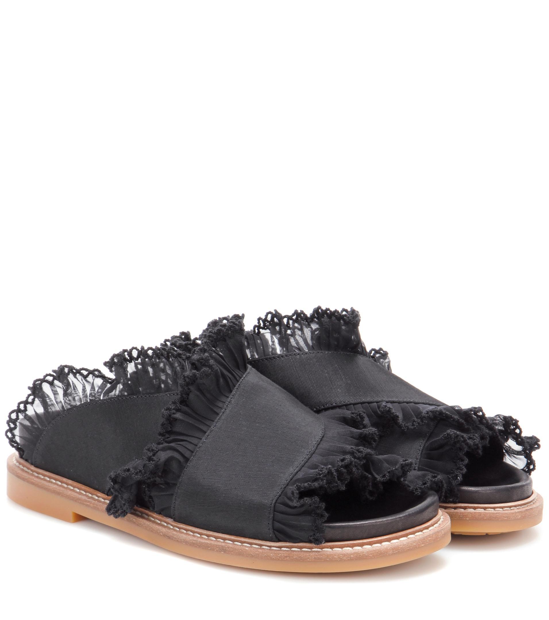 Ganni Beth Ruffle-Trimmed Canvas Sandals kDFk2SHy