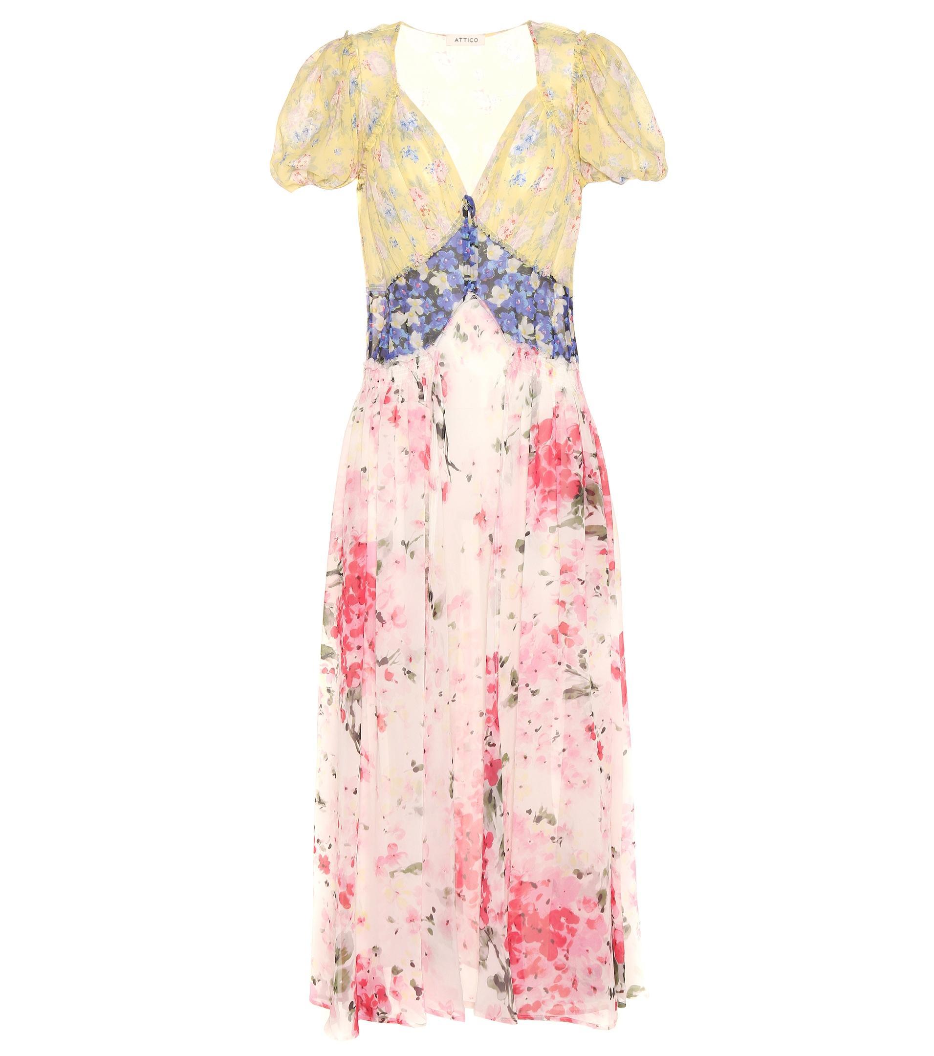 Lyst Attico Natalia Floral Printed Silk Dress In Pink