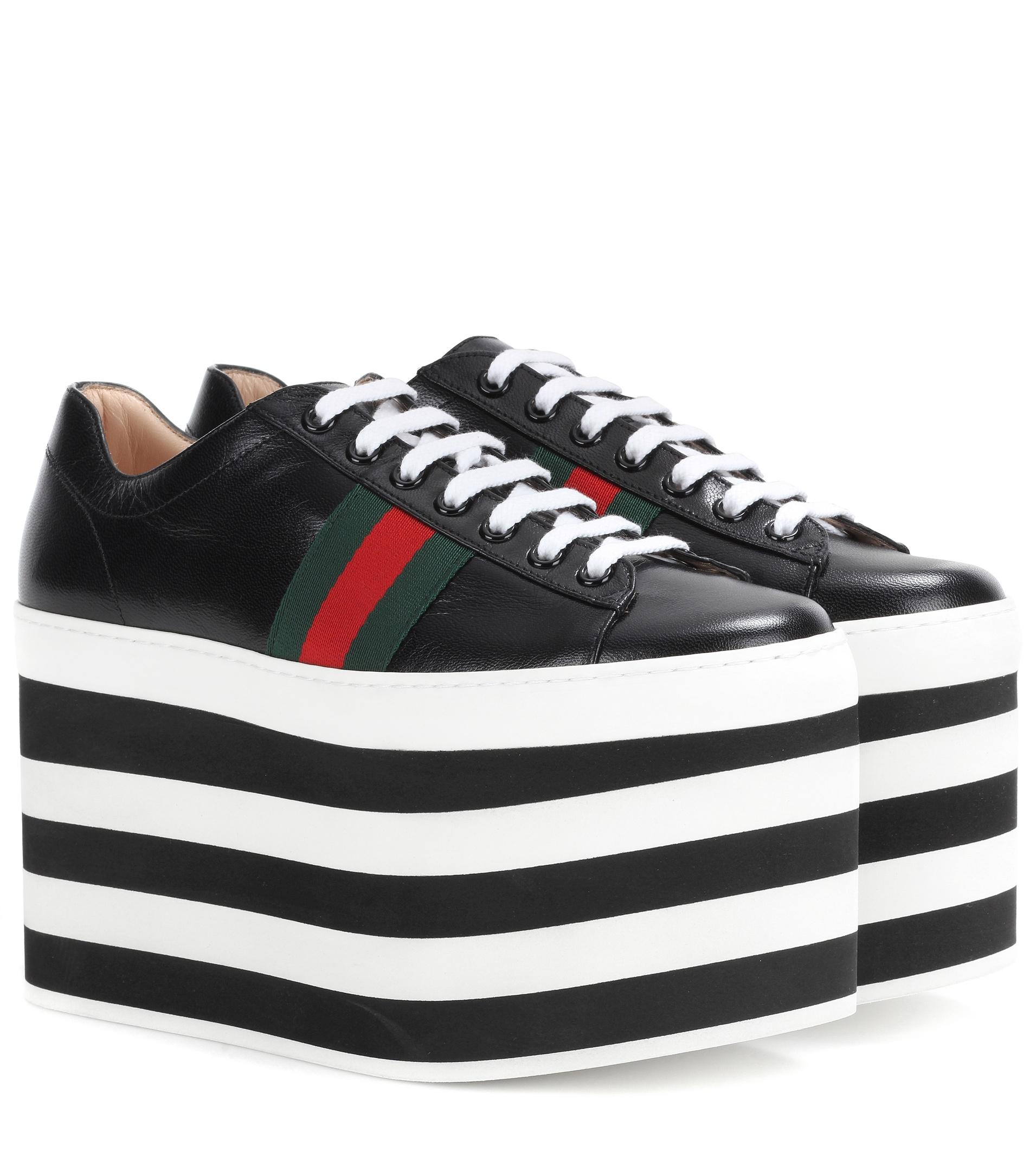 gucci leather platform sneakers lyst. Black Bedroom Furniture Sets. Home Design Ideas