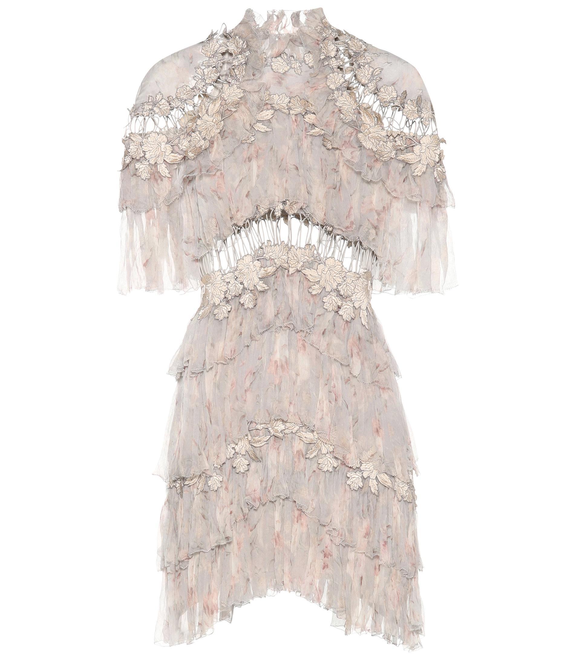 a9982db190e8 Zimmermann Stranded Tier Silk Mini Dress - Lyst