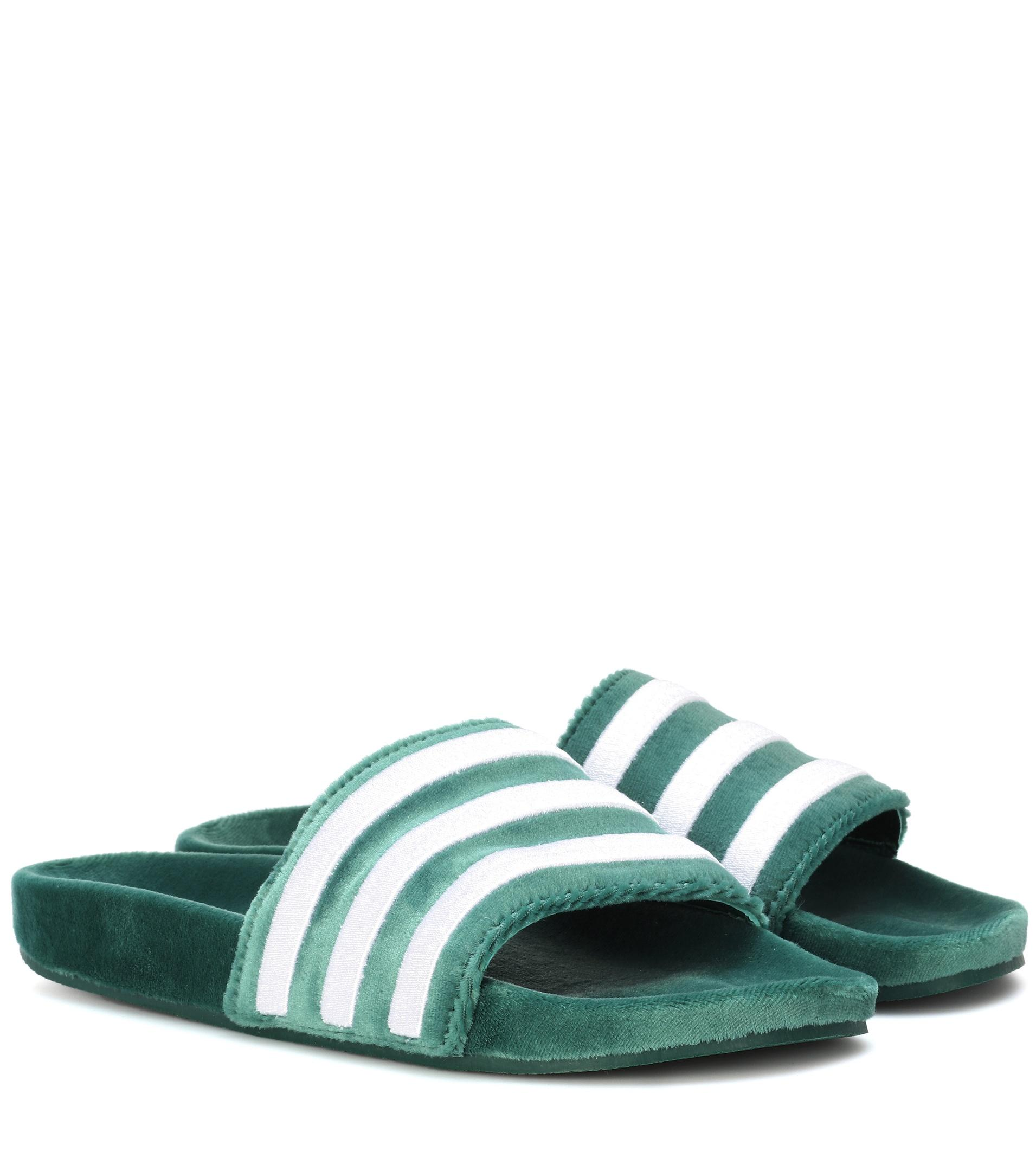 c7d21b0cc1480 Lyst - adidas Originals Adilette Velvet Slide in Green