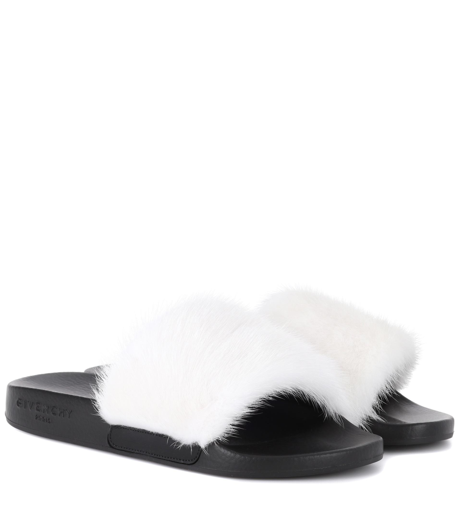 66544e02901b Givenchy Mink Fur Slides in White - Save 26% - Lyst
