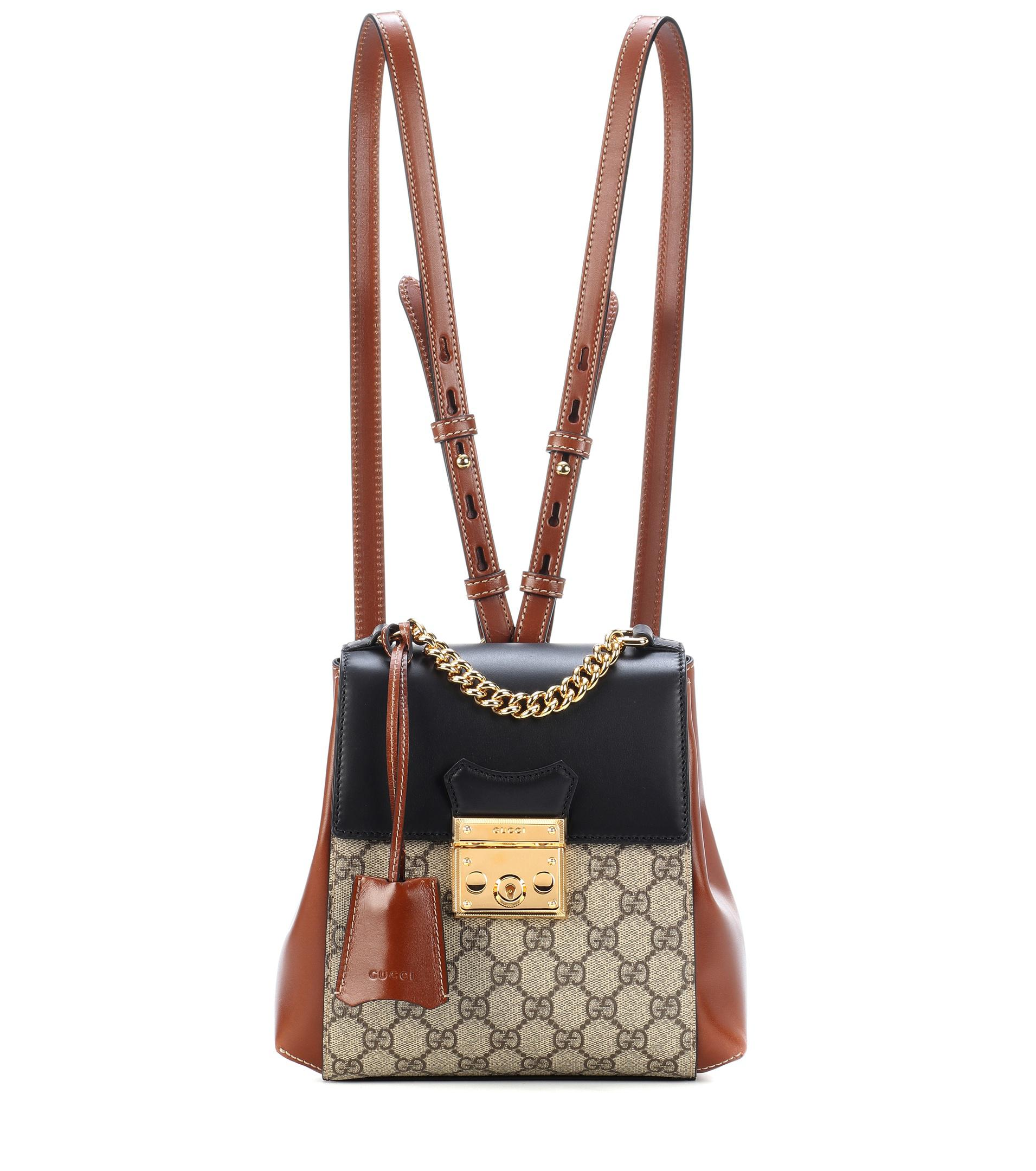 eebcdd26881 Gucci Brown And Black Padlock GG Supreme Backpack in Brown - Lyst