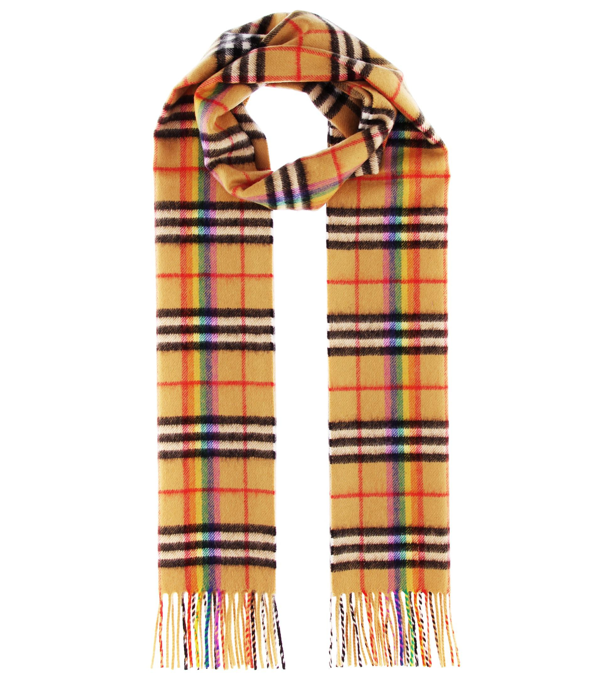 f11d7aeab ... clearance lyst burberry the classic rainbow cashmere scarf in natural  4e4ef 88db6