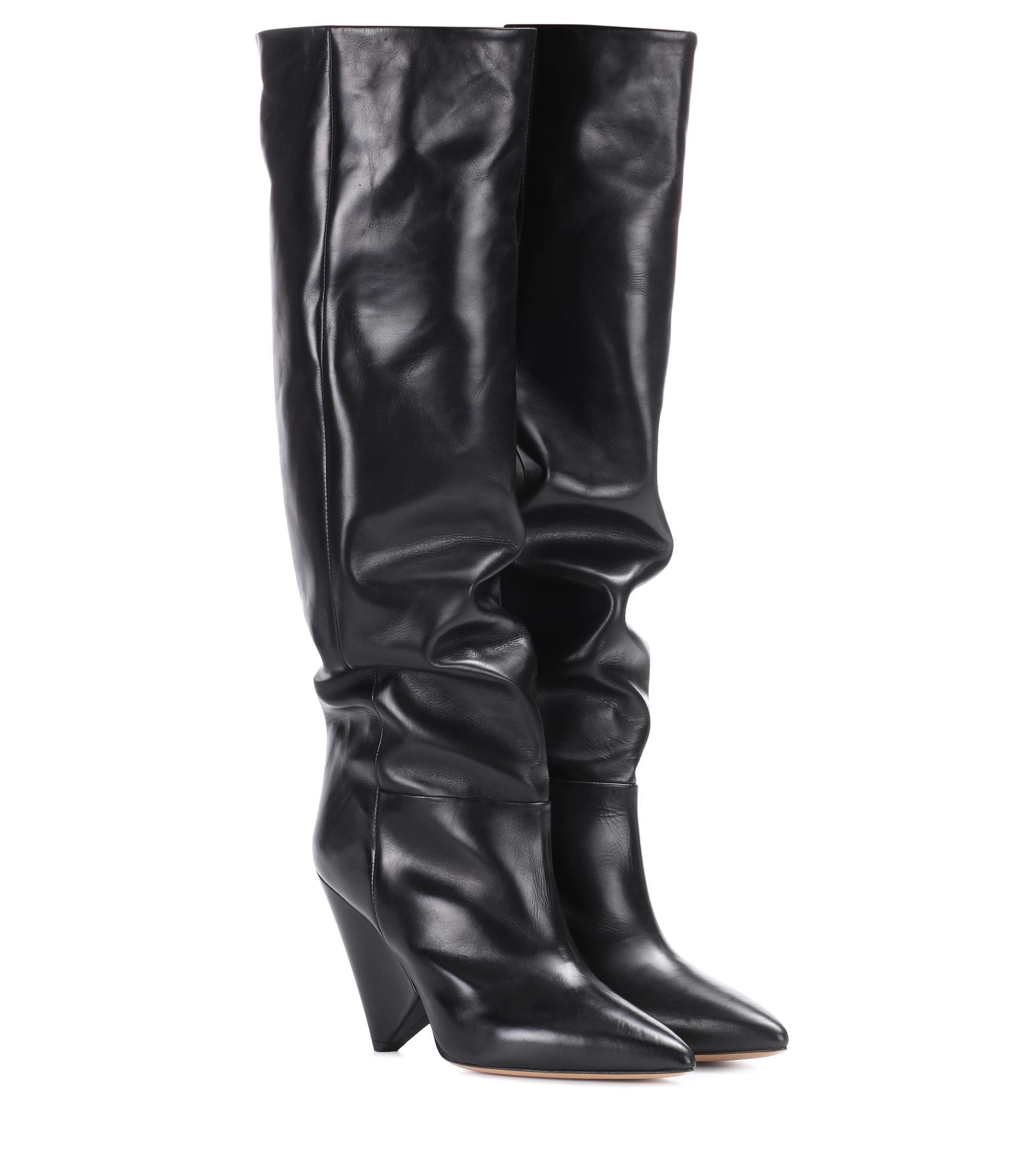 466e163ca4e Isabel Marant Lokyo Leather Knee-high Boots in Black - Lyst