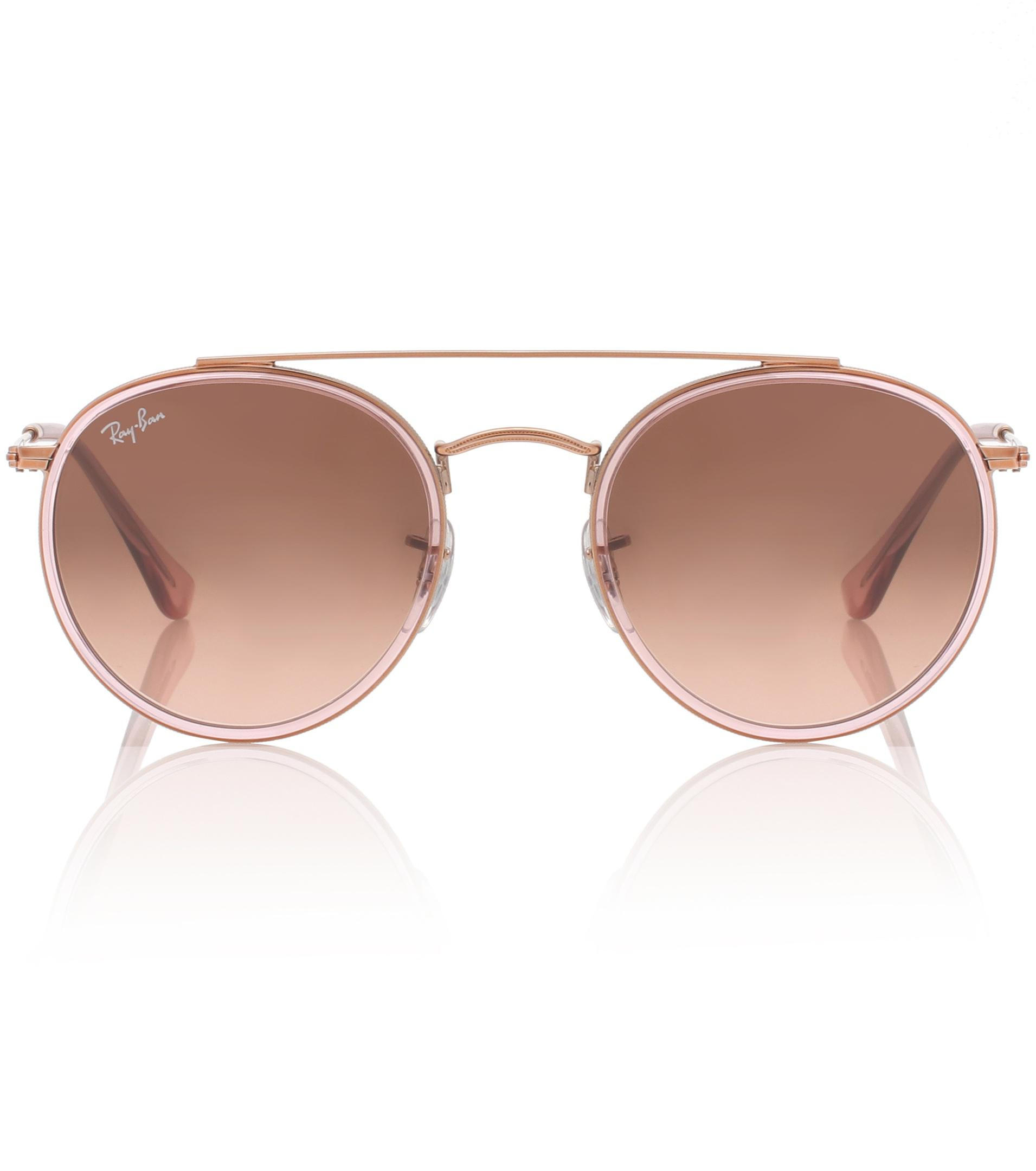d3052d4777 Ray-Ban Round Double Bridge Sunglasses in Pink - Lyst