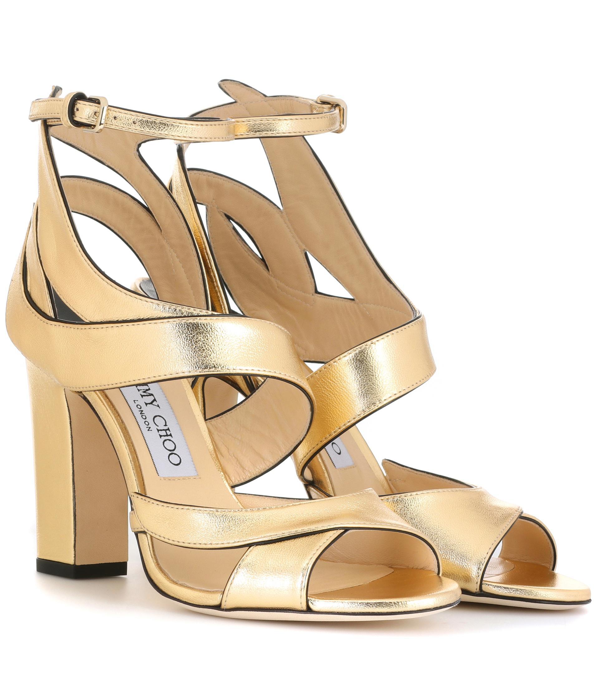 4d83c715e13 Jimmy Choo Falcon 100 Leather Sandals in Metallic - Lyst