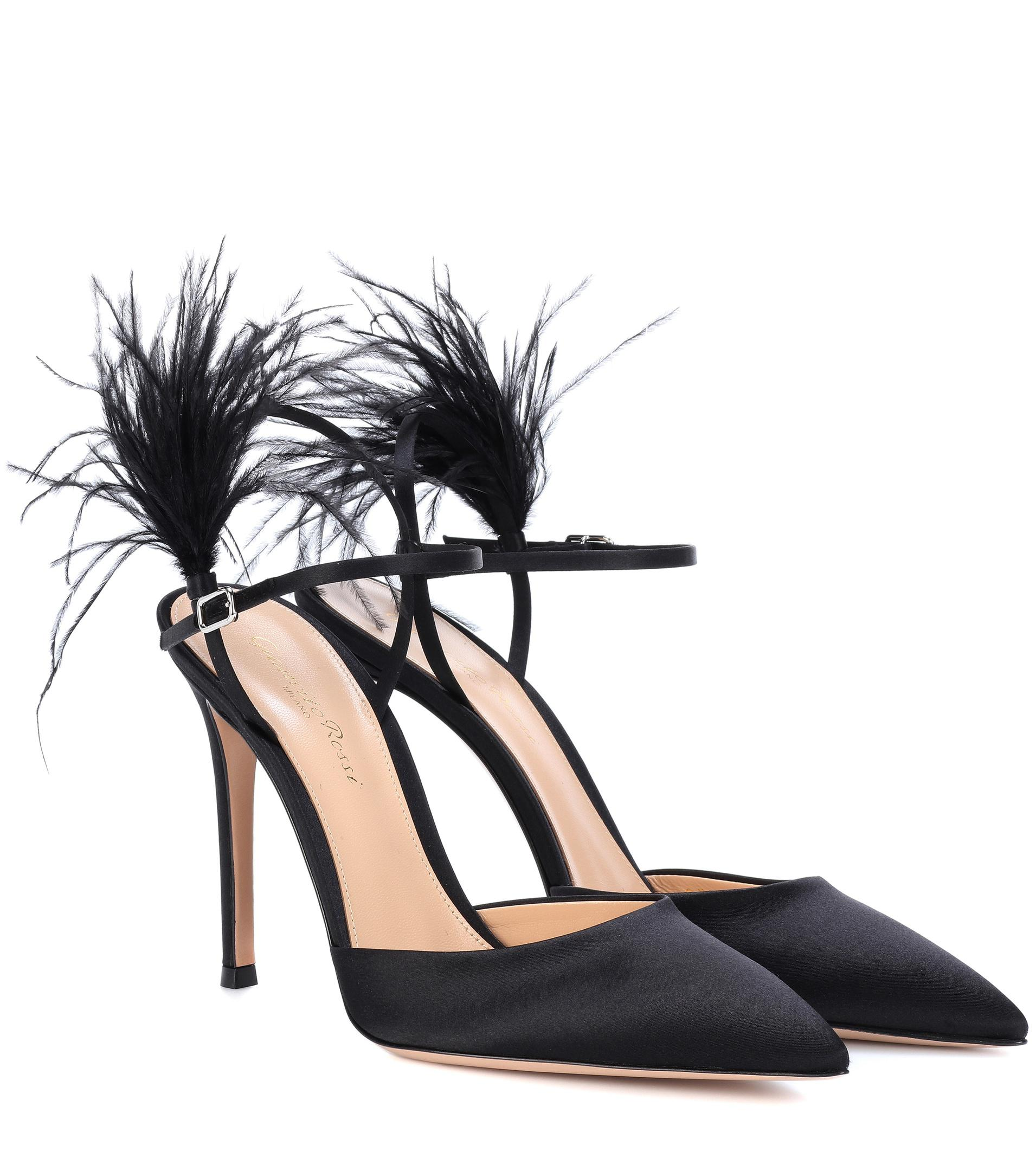 Sale How Much Exclusive to mytheresa.com - Simone feather-trimmed satin pumps Gianvito Rossi Clearance Popular Fake Cheap Online Cheap Purchase BJdykutkjN