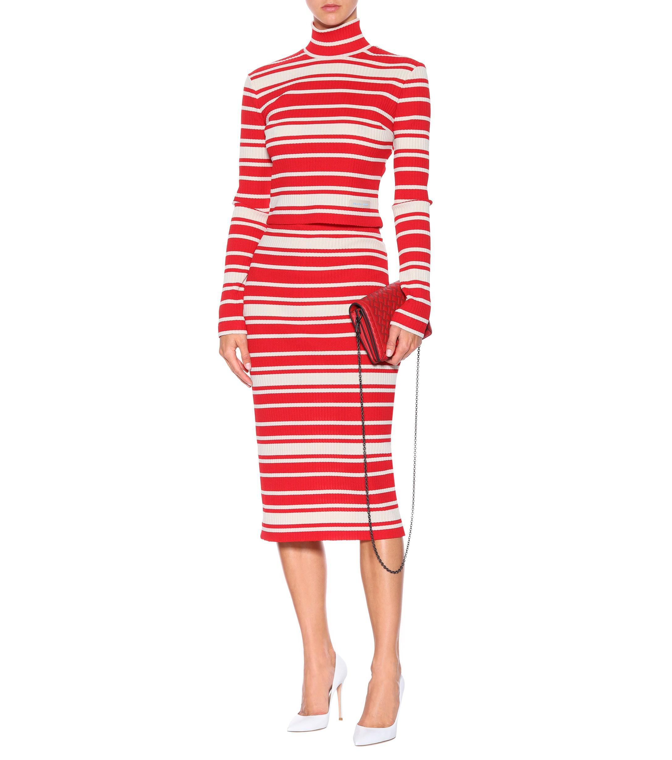 Prada Lyst Sweater Striped Red Neck Mock 0Afq0U