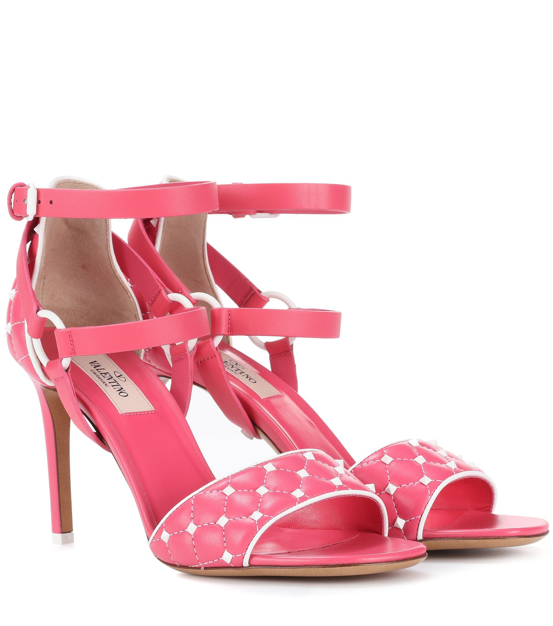 4ae9a6518aa3 Valentino - Pink Free Rockstud Spike 90 Leather Sandals - Lyst. View  fullscreen