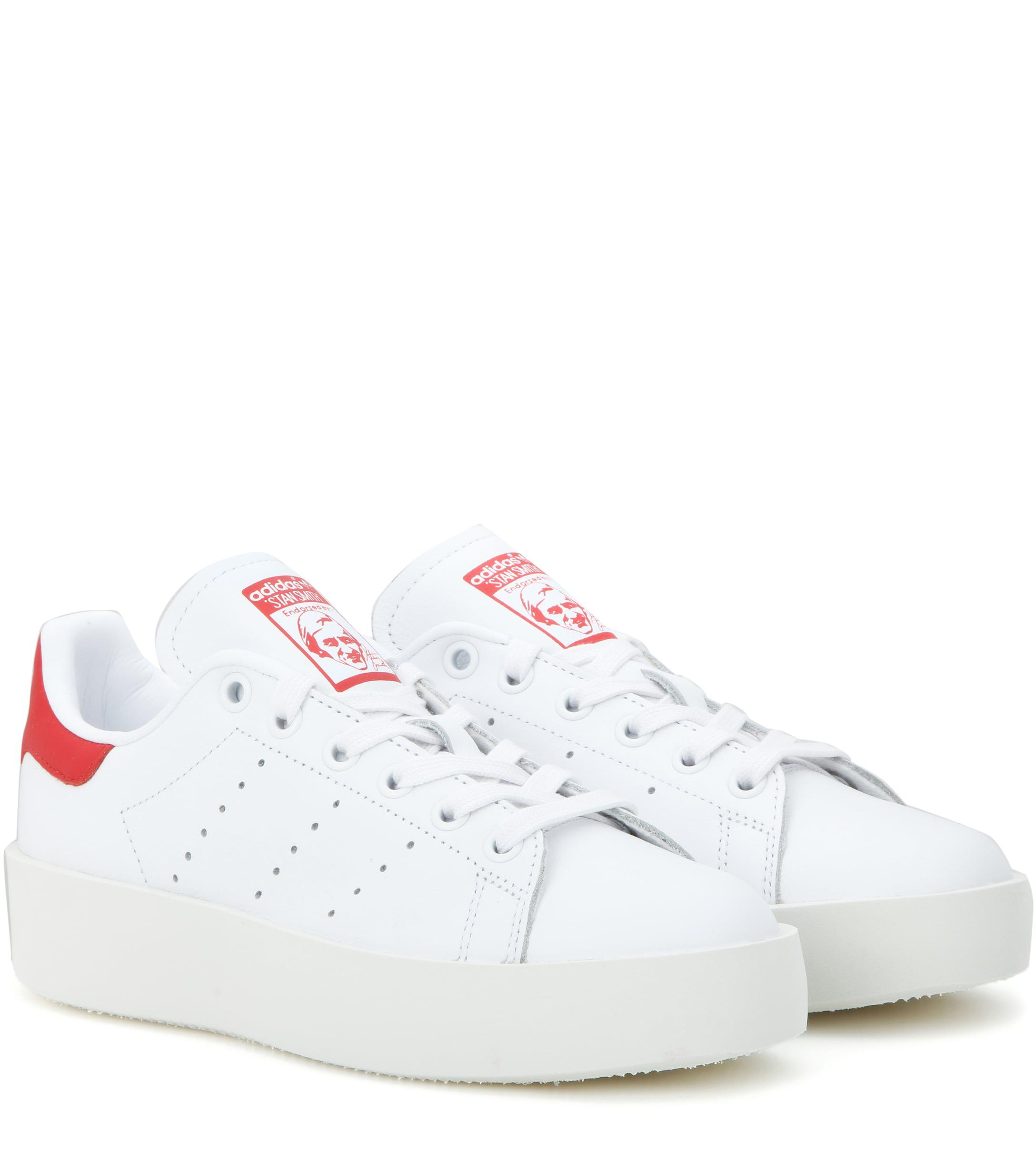 acbf3c75e0b Adidas Originals Stan Smith Bold Leather Sneakers in White - Lyst