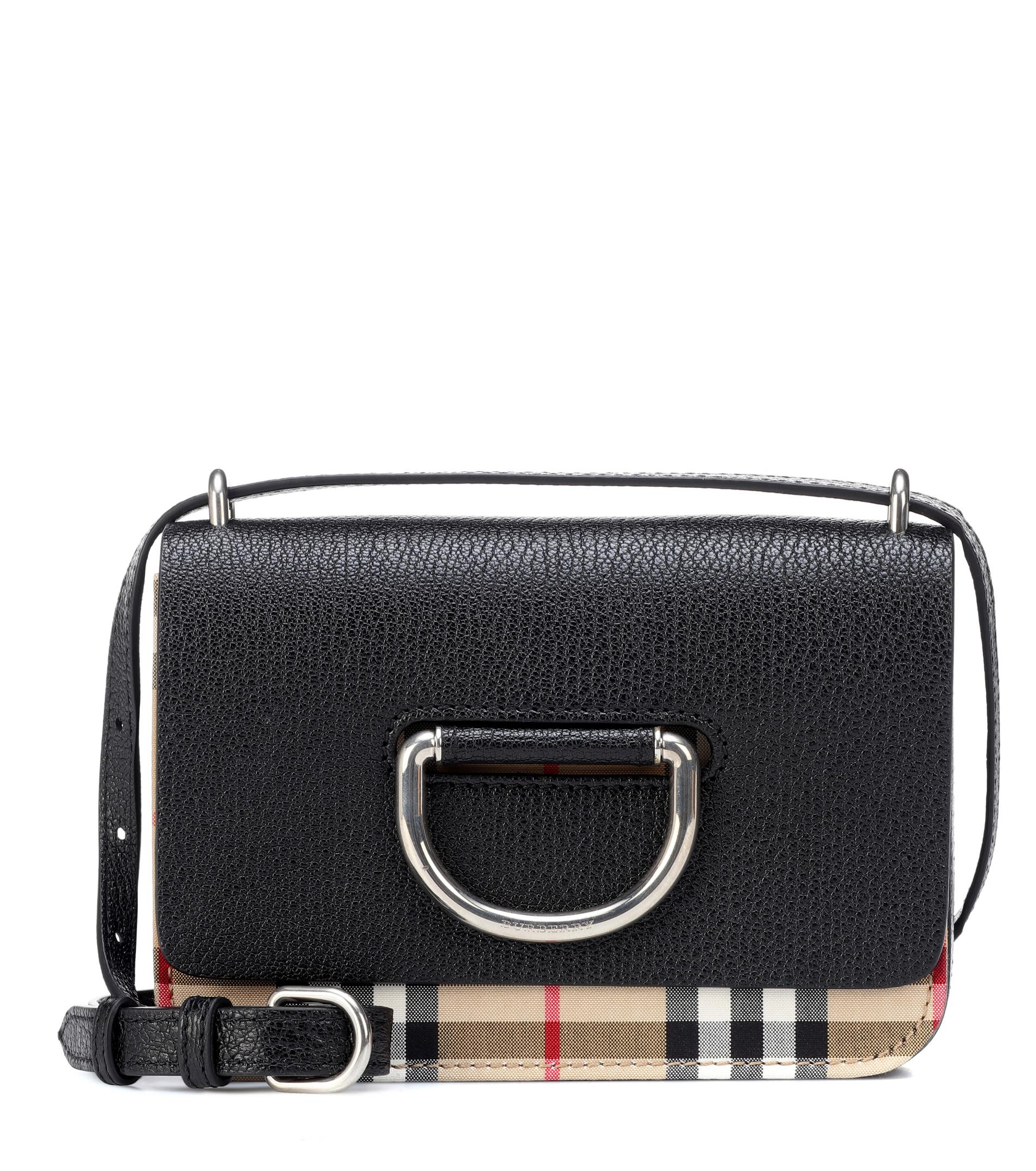 fa56c928a3cc Burberry Mini Vintage Check Crossbody Bag in Black - Lyst