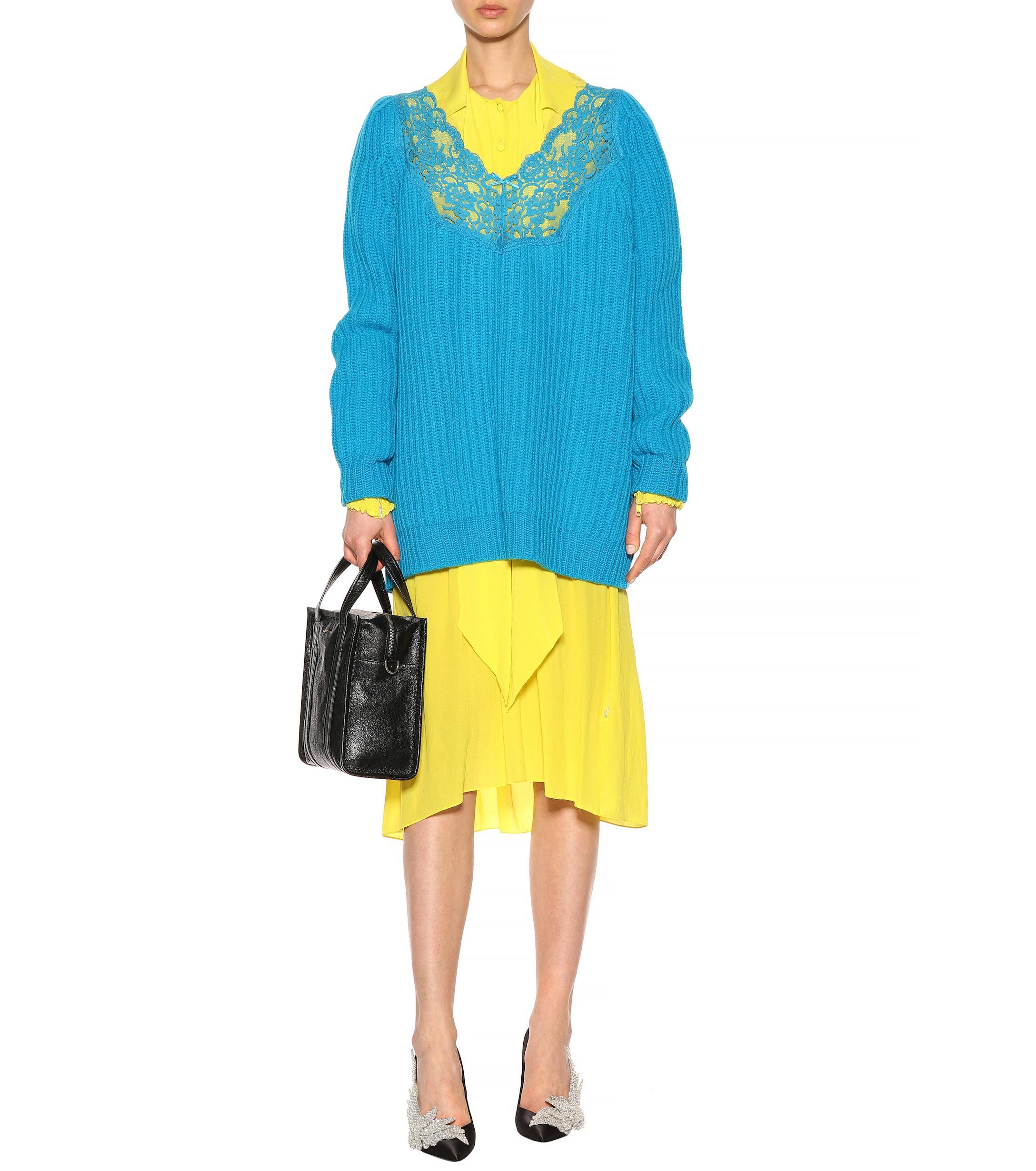 Balenciaga - Blue Lace-trimmed Wool Sweater - Lyst. View fullscreen c72cbd641