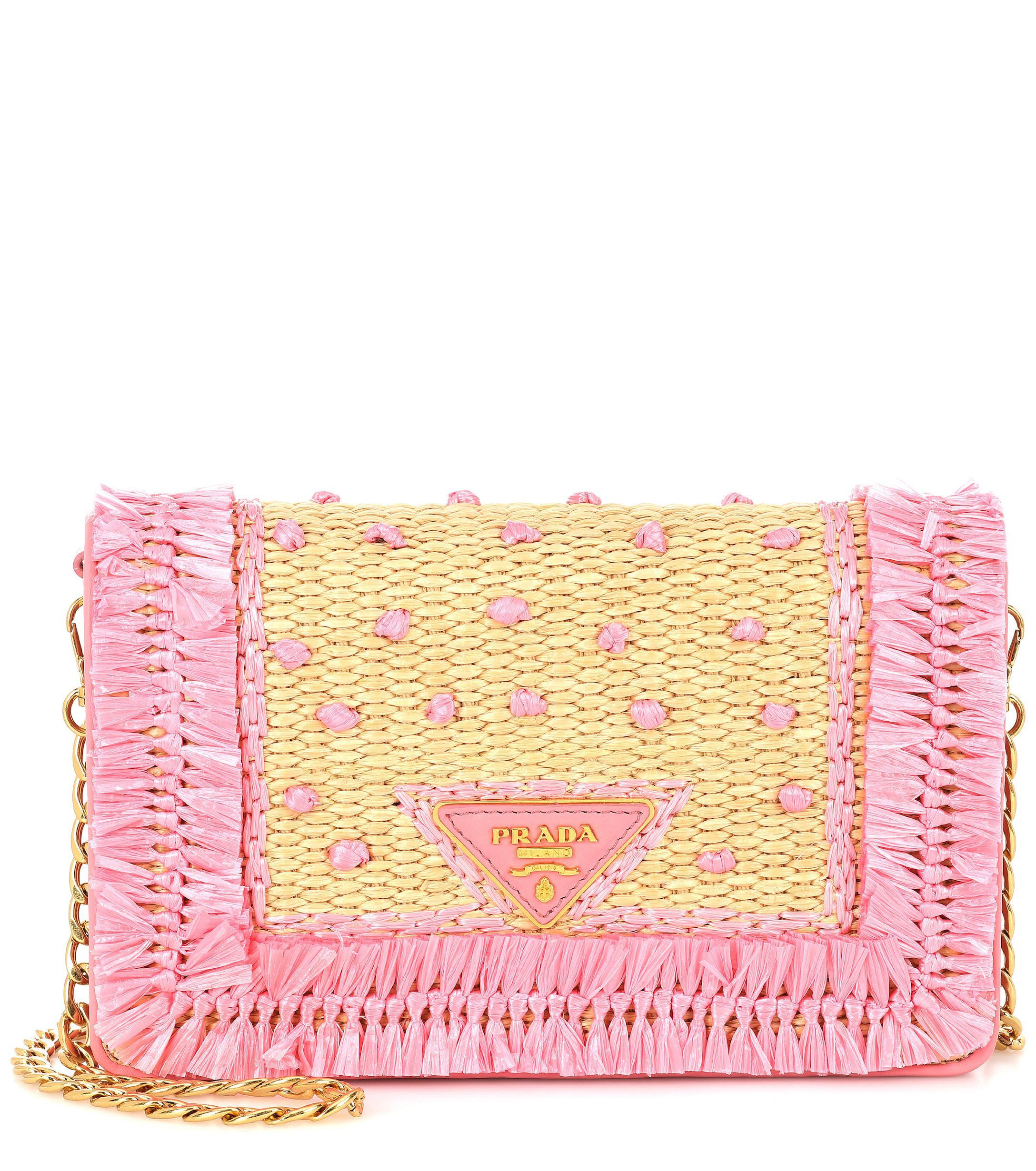 Prada - Pink Leather And Raffia Shoulder Bag - Lyst. View fullscreen a54d90fe45