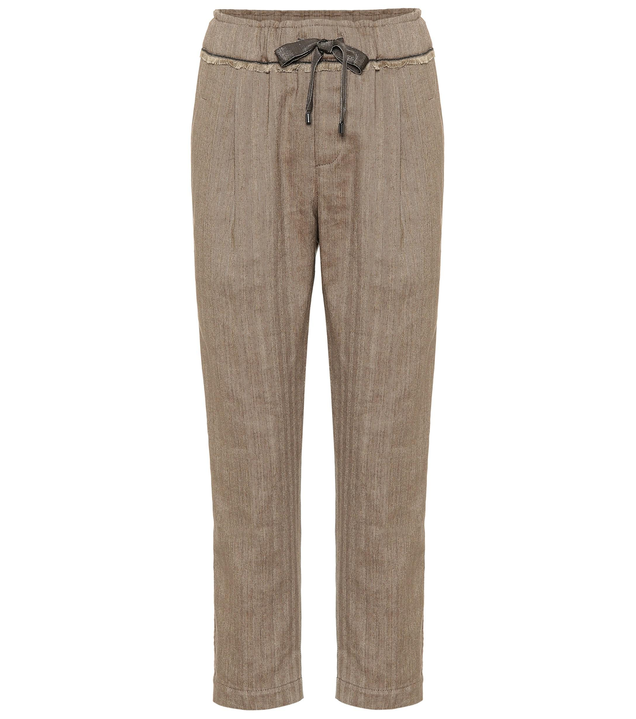 cc801ad5 brunello-cucinelli-brown-Cotton-And-Linen-Cropped-Pants.jpeg
