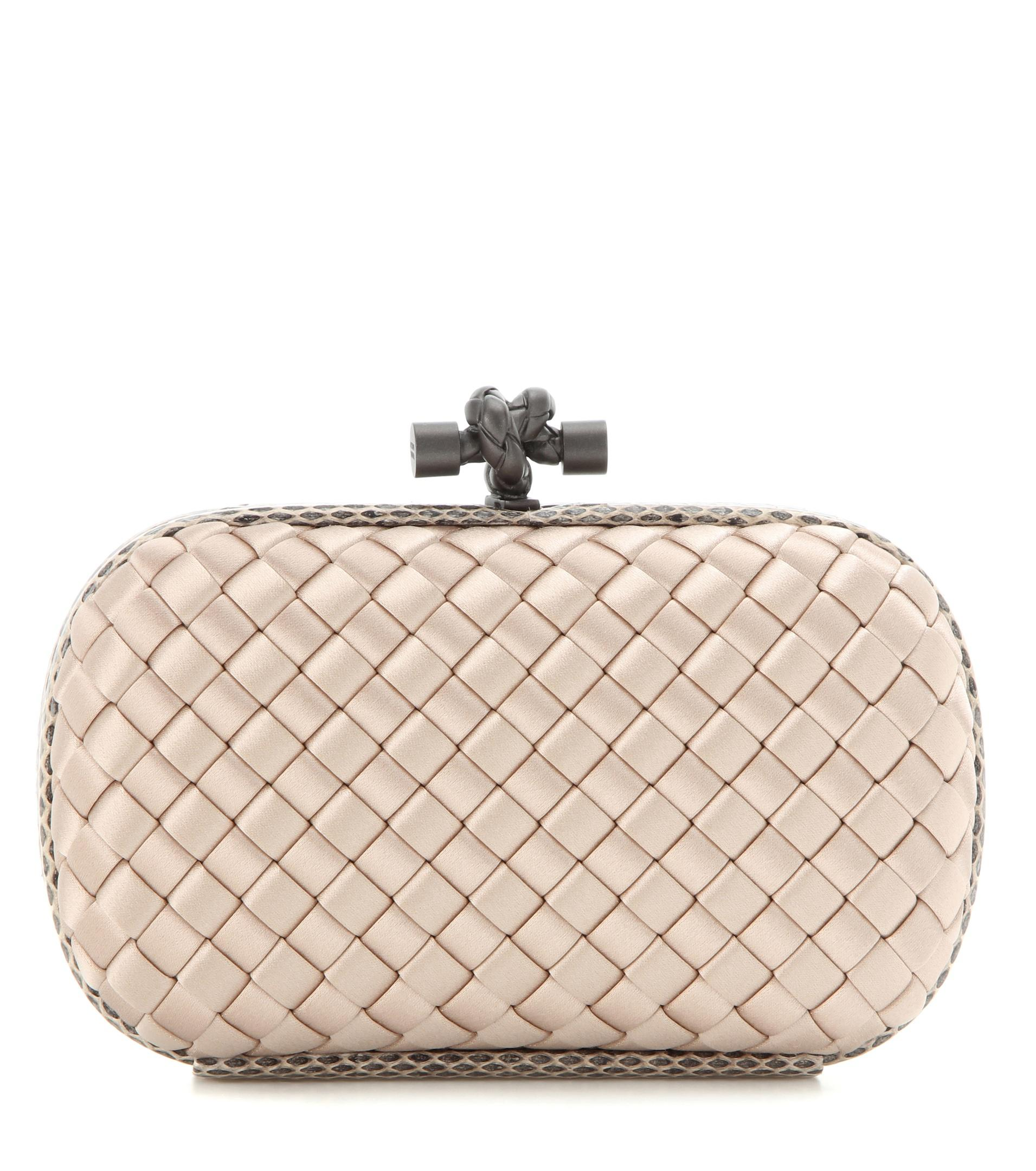 4968db9e2d56 Bottega Veneta Knot Satin And Snakeskin Clutch in Natural - Lyst
