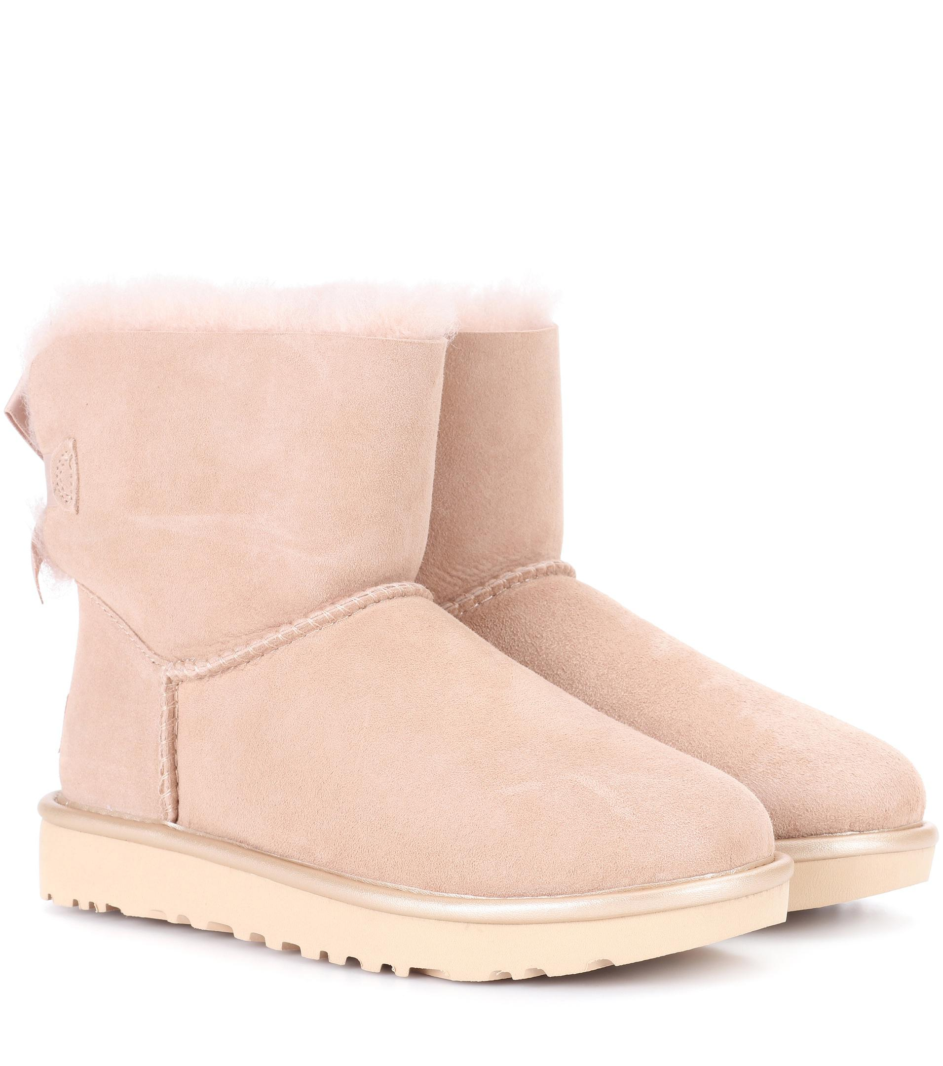 b69b631a901d Lyst - UGG Mini Bailey Bow Ii Suede Ankle Boots in Pink
