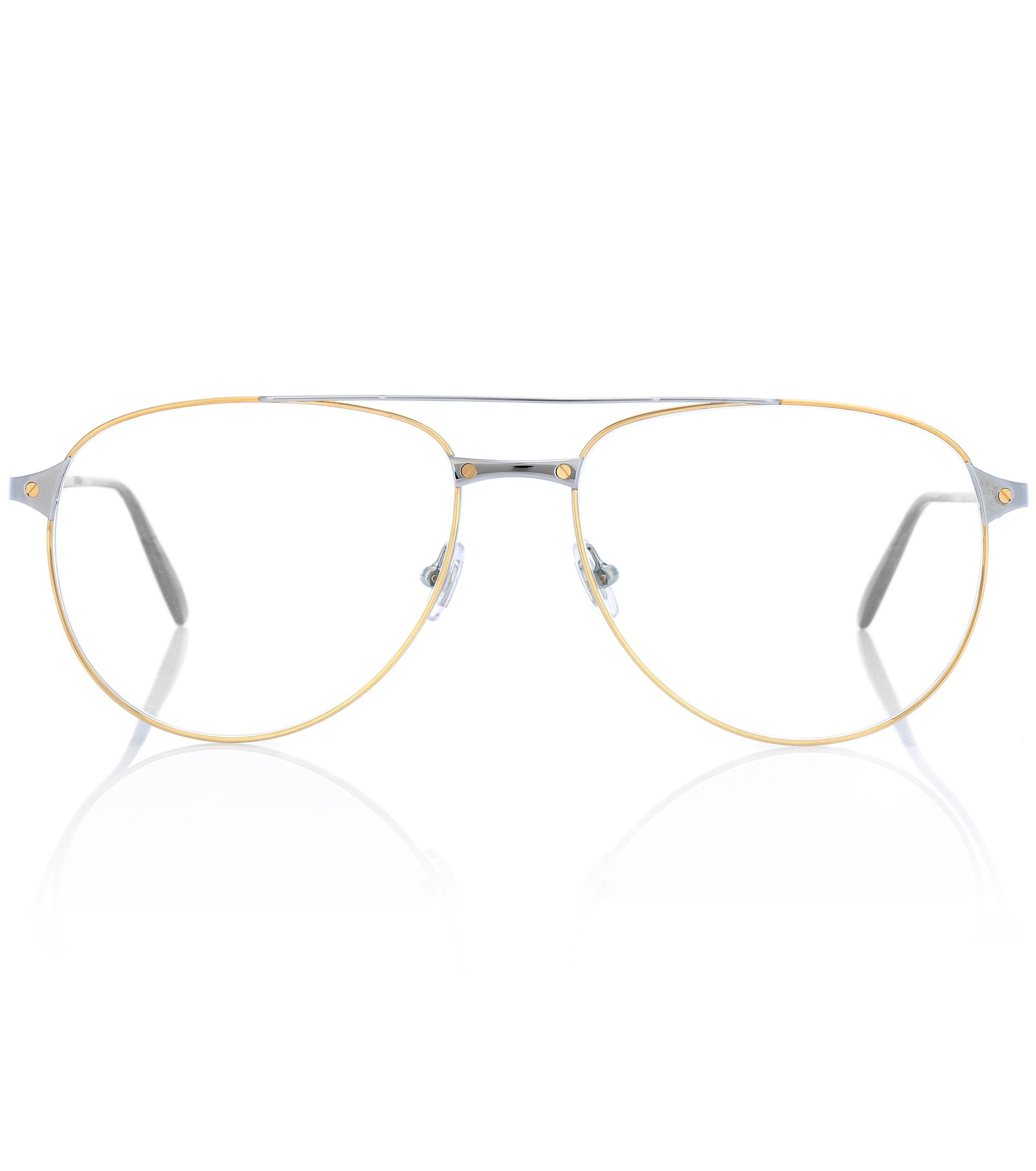 53b249376d526 Cartier Santos De Cartier Aviator Glasses in Metallic - Lyst