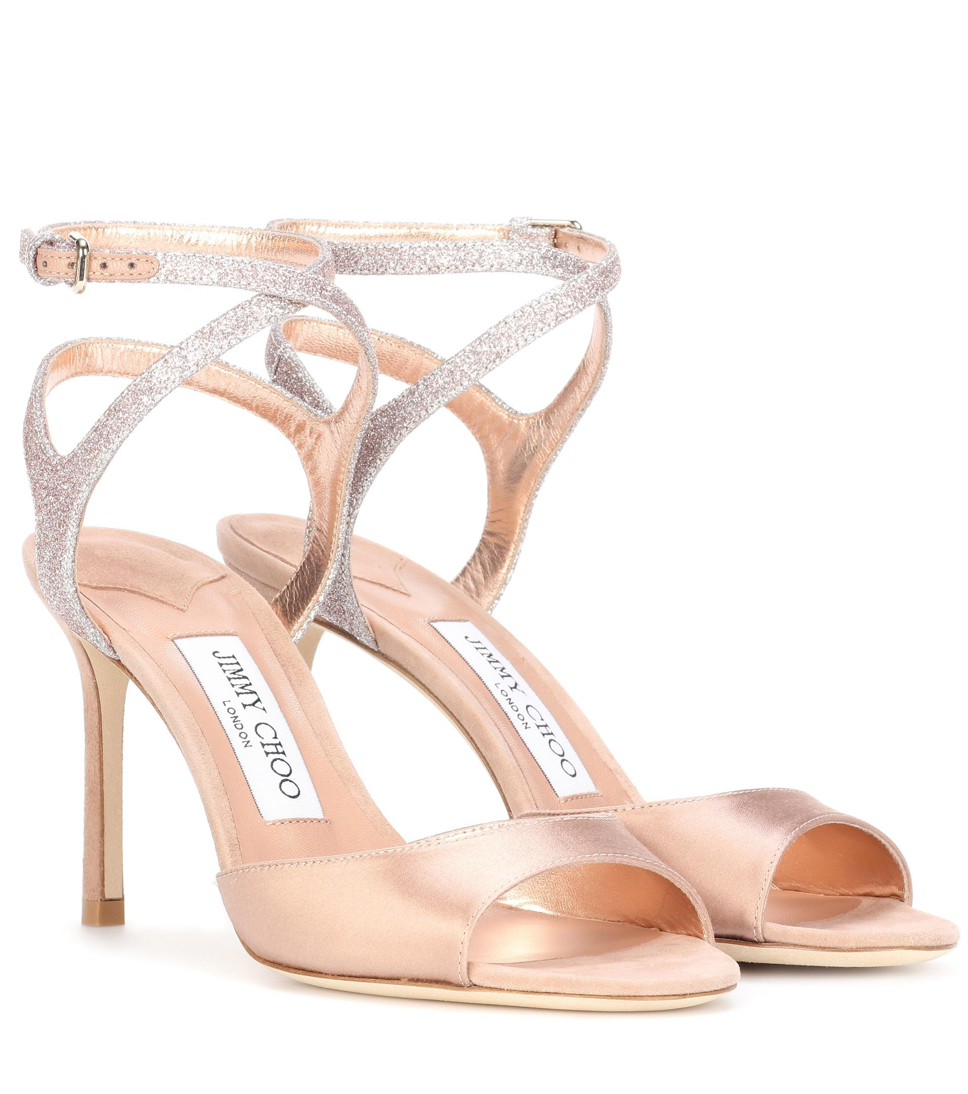 Lyst - Jimmy Choo Helen 85 Satin And Glitter Sandals in Pink 3599eb51b85