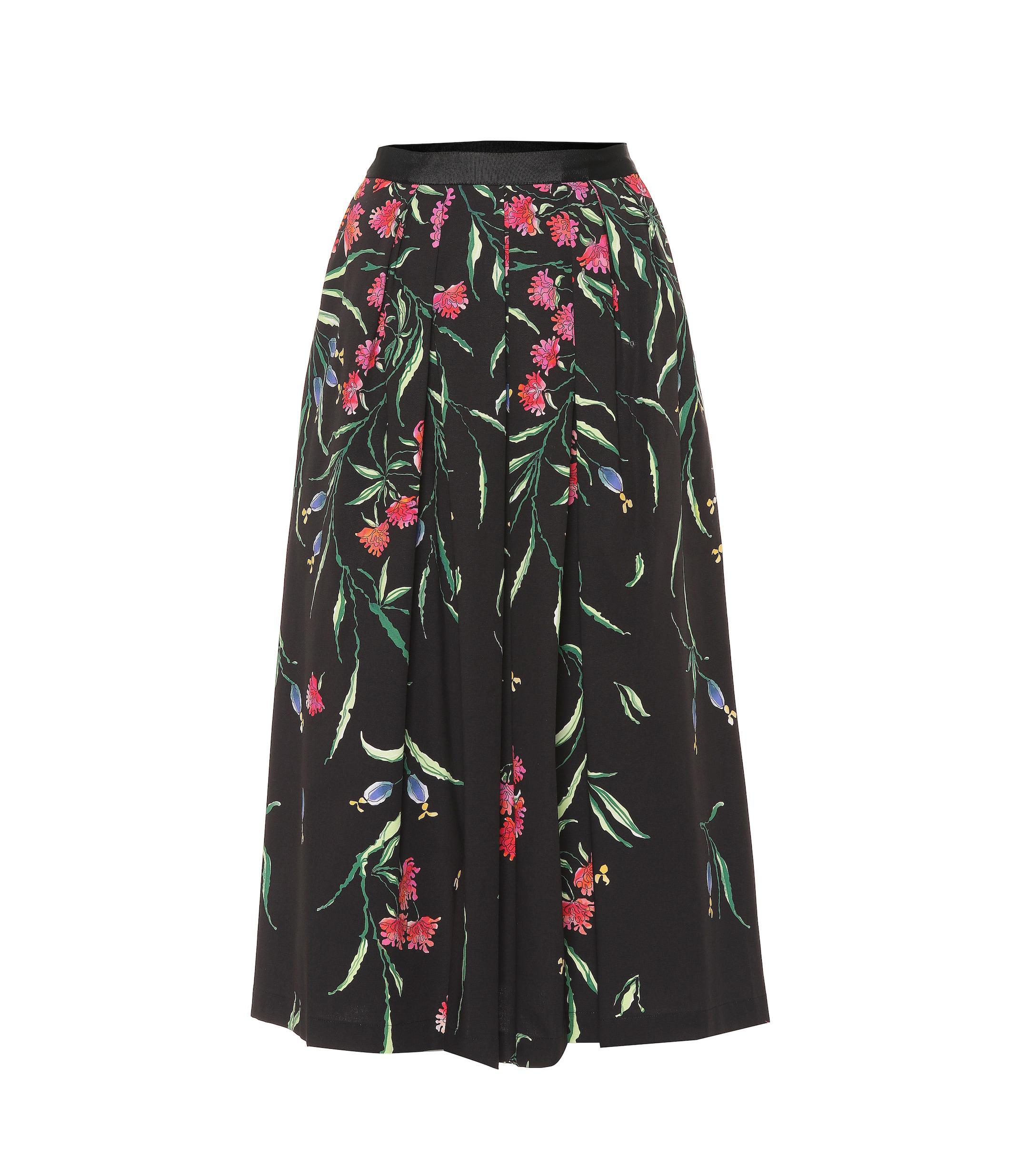 d48a7ecb1f Carolina Herrera - Black Falda midi de algodón floral - Lyst. Ver en  pantalla completa
