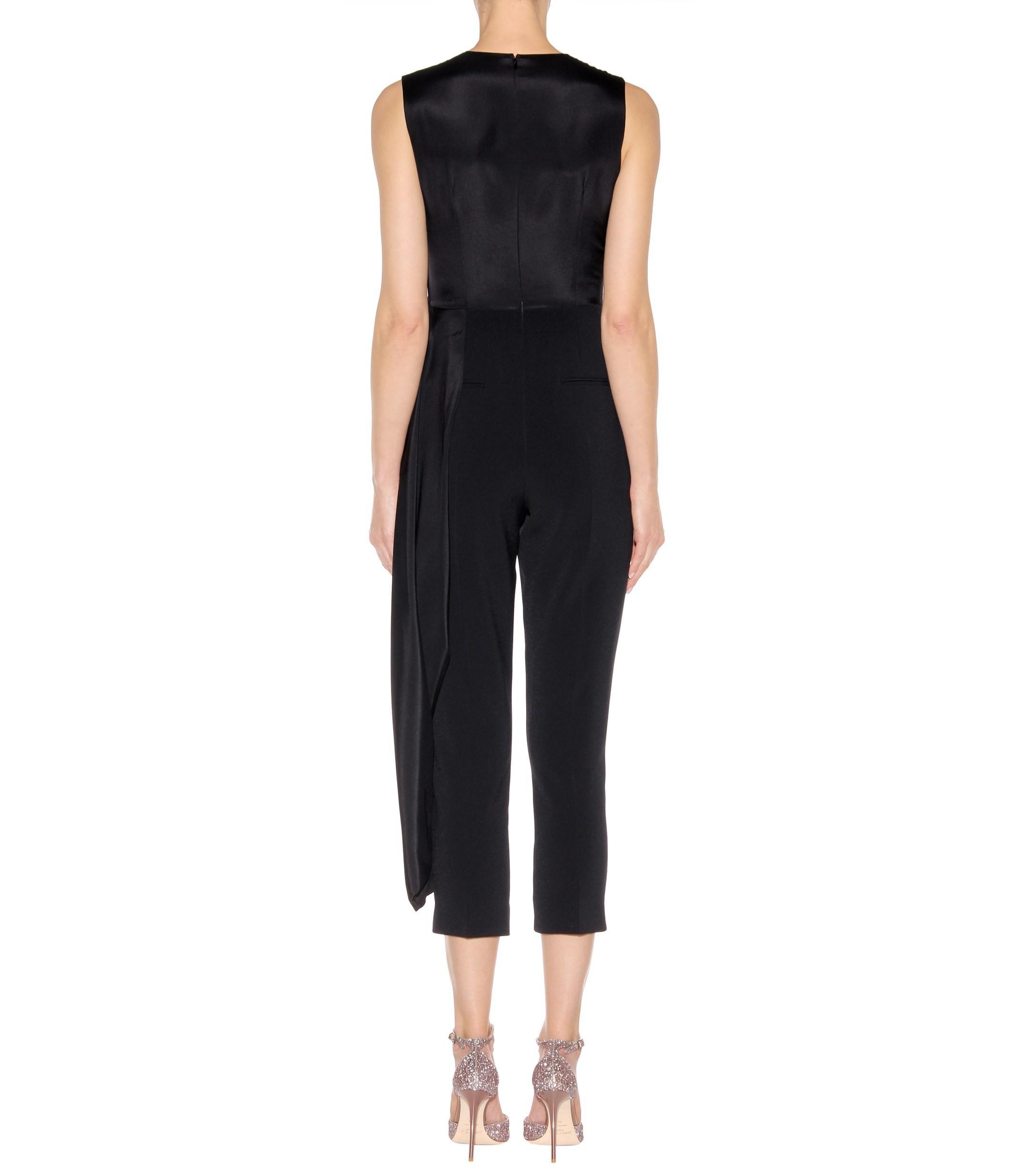 dc968d62da26 Roksanda - Black Thurloe Cut-out Jersey And Crêpe Jumpsuit - Lyst. View  fullscreen